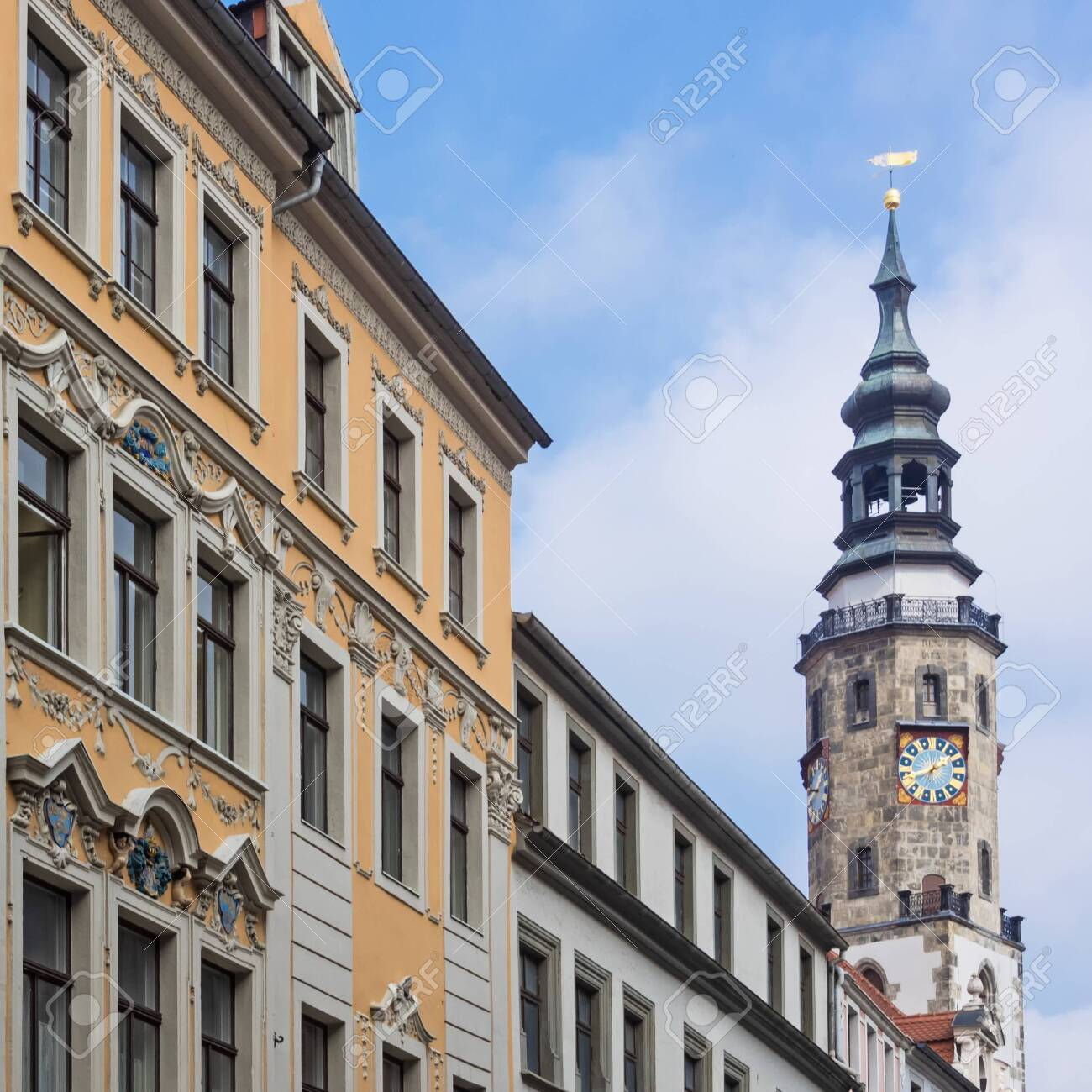 Historic buildings in the old town of city Goerlitz with town hall in the background, Saxony, Germany - 146409522