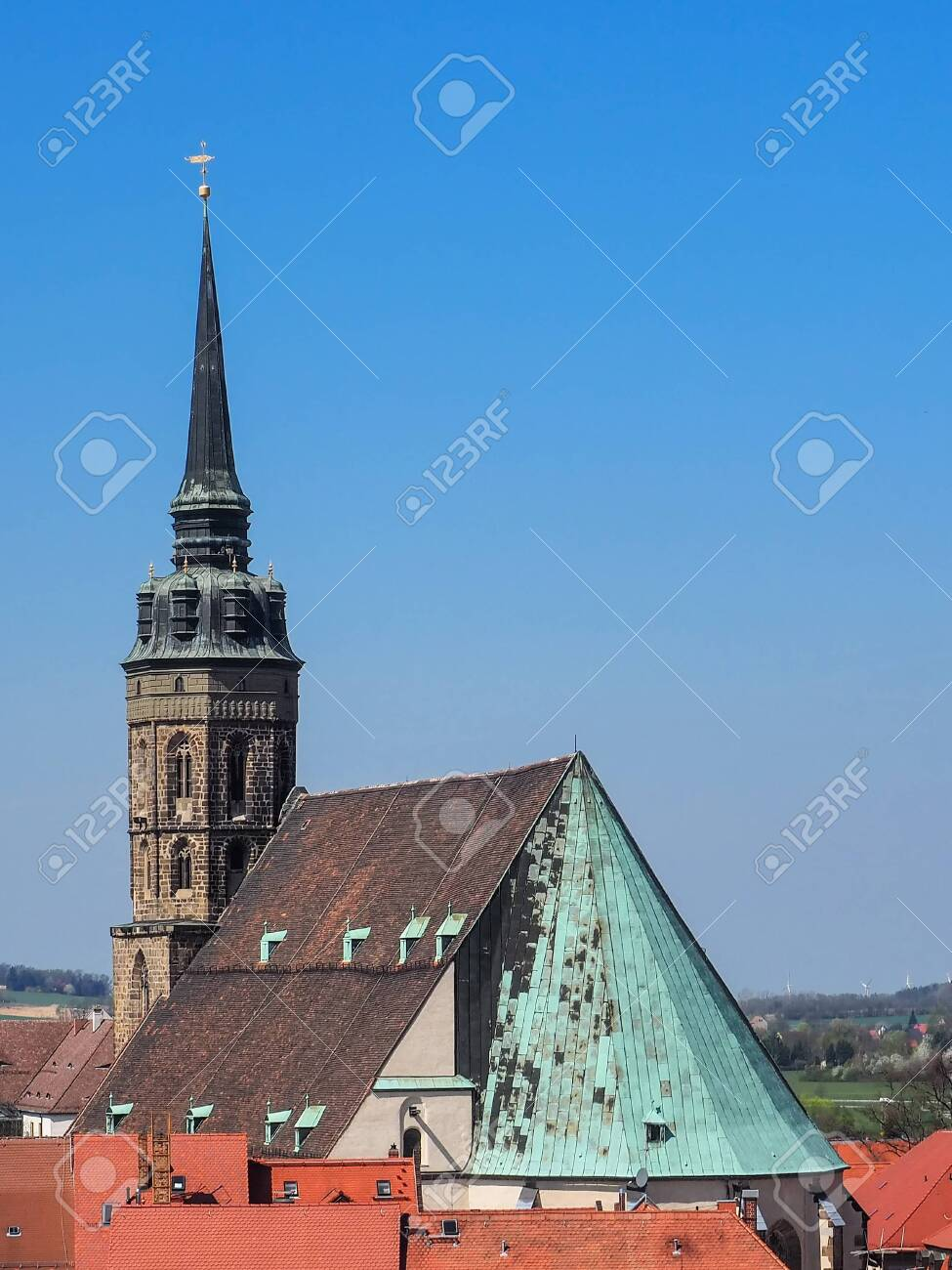 Bautzen, Saxony, Germany: aerial view of city Bautzen with the St. Peter's cathedral - 146409527