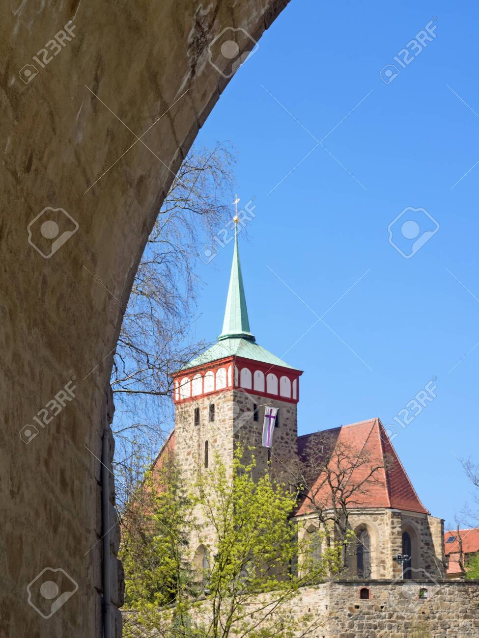 Old town of city Bautzen with church of St. Michael, Saxony, Germany, seen through a bridge arch - 149218983