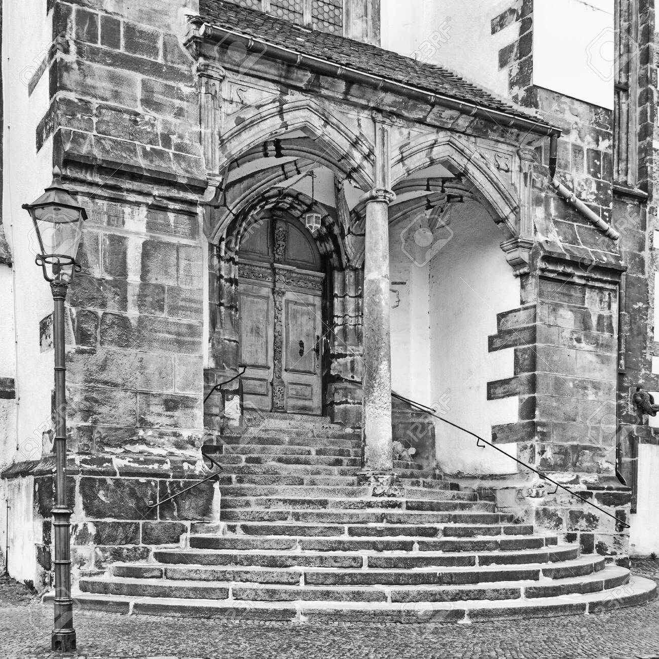 Stairs of the St. Peter and Paul church at Goerlitz, Germany - 153178173