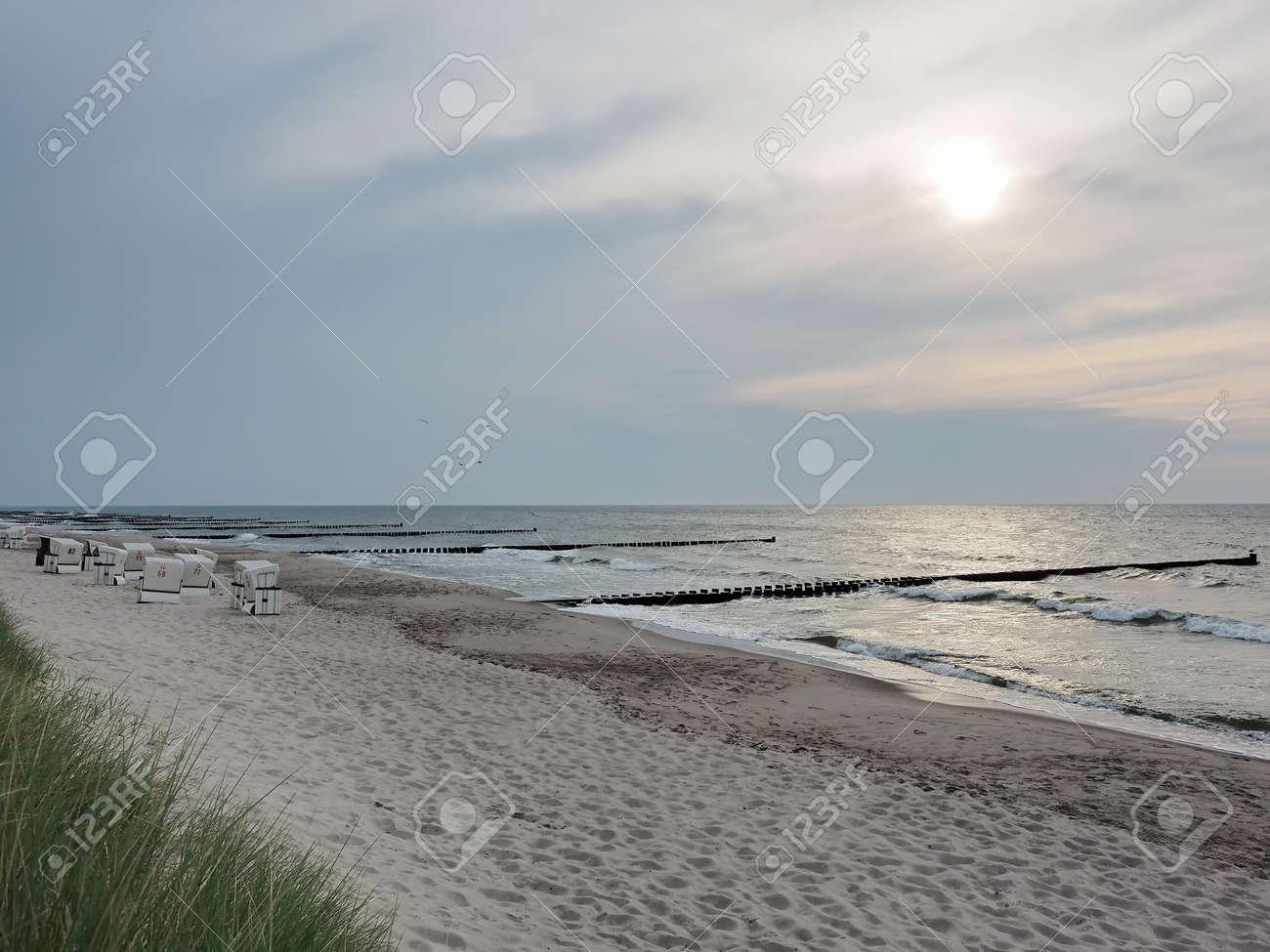 Beach at the Baltic Sea near to Ahrenshoop, Mecklenburg-Western Pomerania, at evening - 155472880