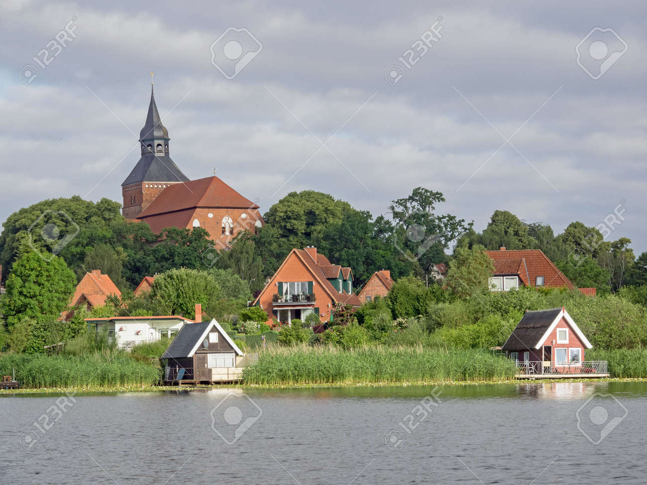 Cityscape of Sternberg with church and lake, Mecklenburg-Western Pomerania, Germany - 162918667