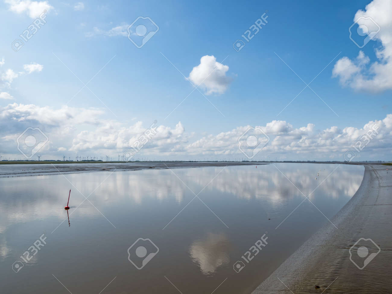 River Eider at low tide near to city Toenning, Schleswig-Holstein, Germany - 161757174