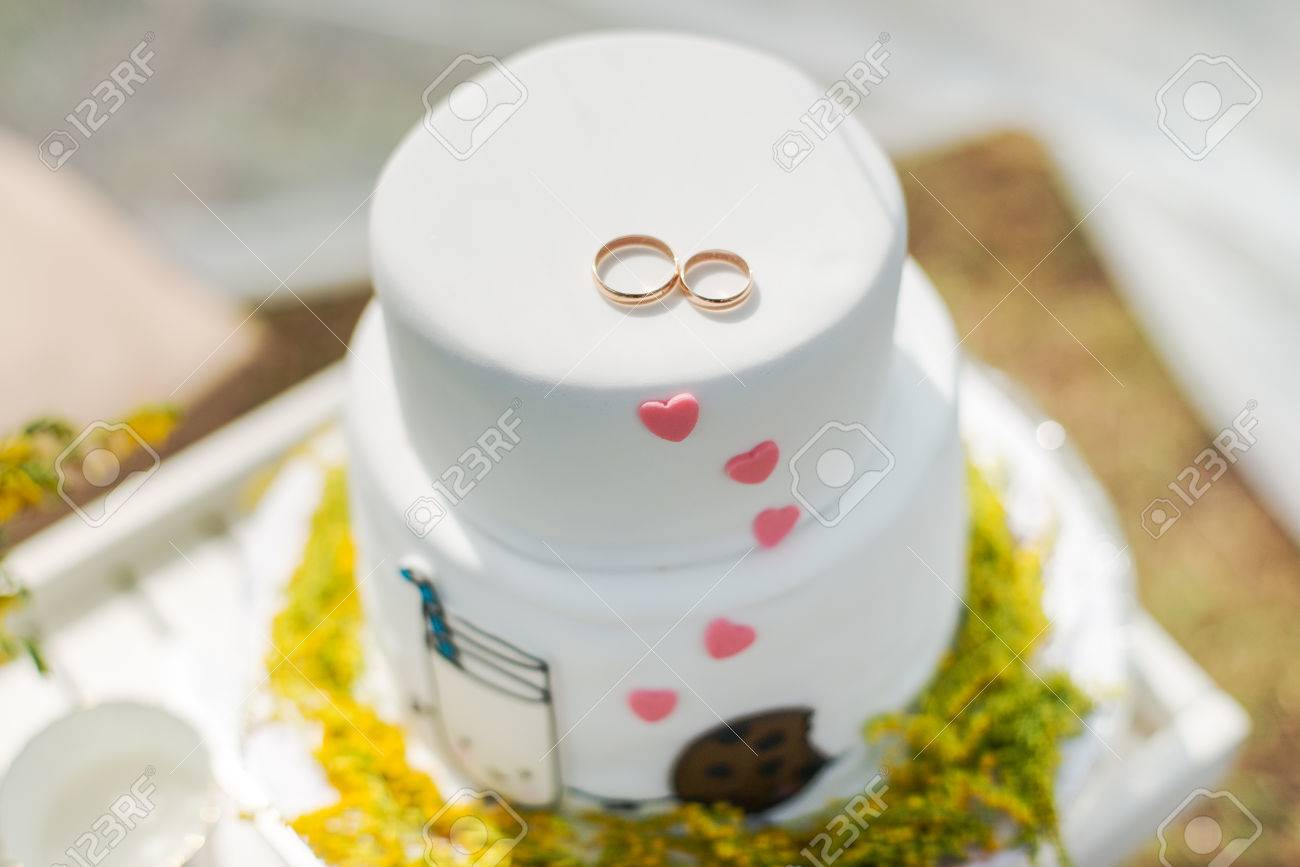 Funny Wedding Cake From Mastic With A Cup Of Milk And Cookies Stock Photo Picture And Royalty Free Image Image 46974843
