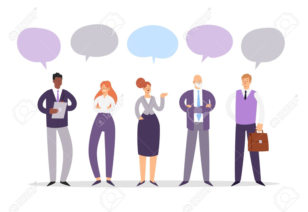 Set of business people with speech bubbles. Businessmen and businesswomen cartoon characters group chat. Office team, multicultural collective workers, entrepreneurs in suits standing together. - 148271741