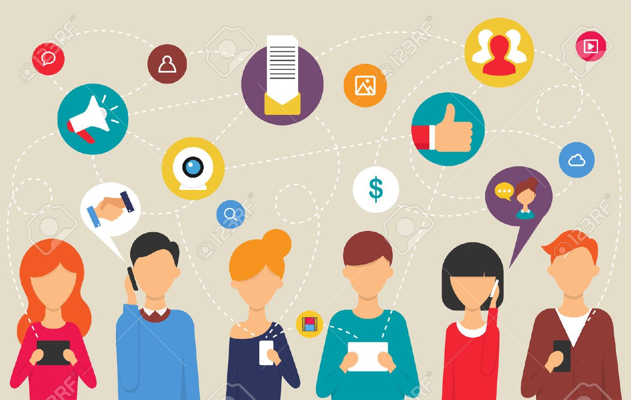 Social network and teamwork concept for web and infographic. Flat design style modern vector illustration for web - 35252634