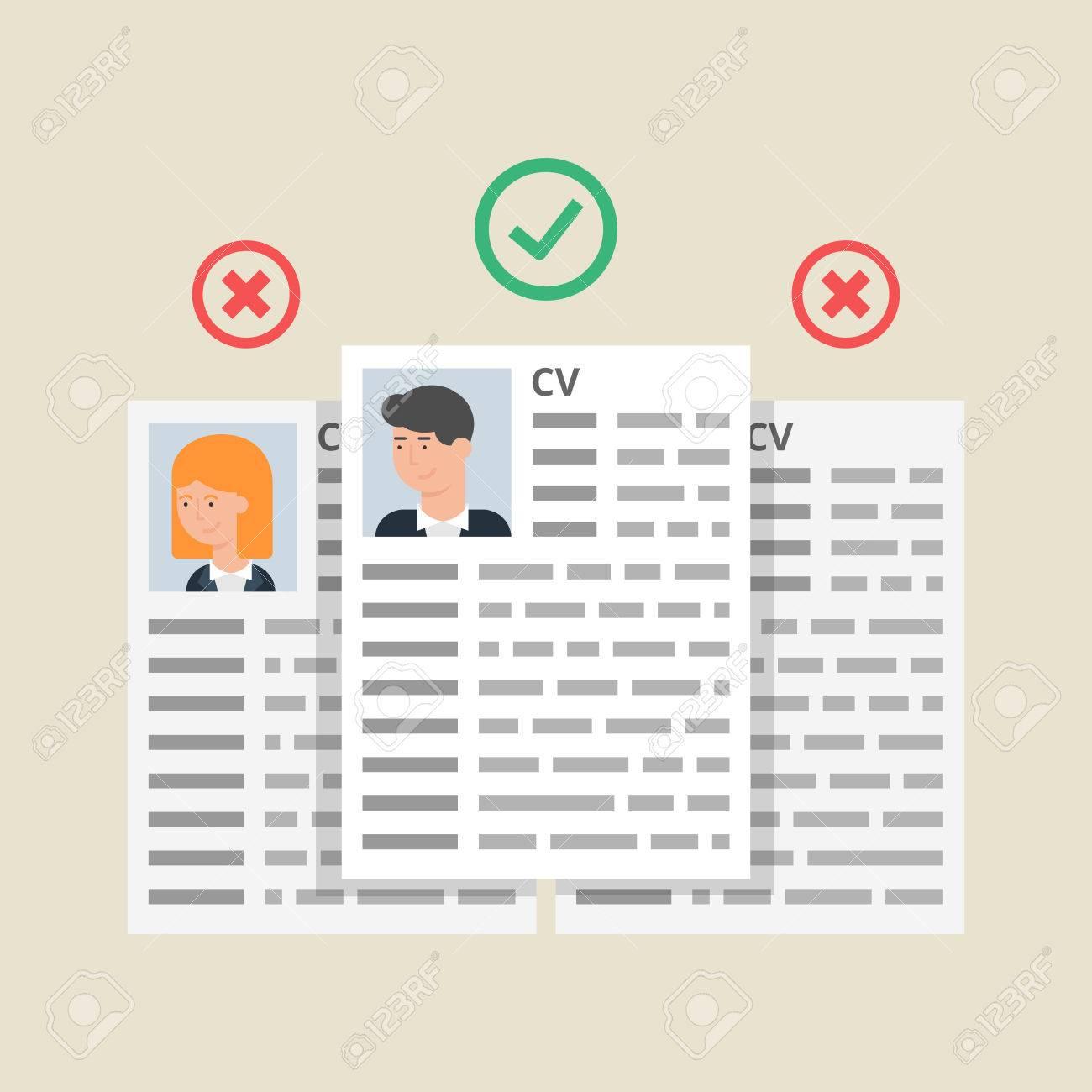 CV Reanuda, Proceso De Selección Empleados. Ilustración Del Vector ...