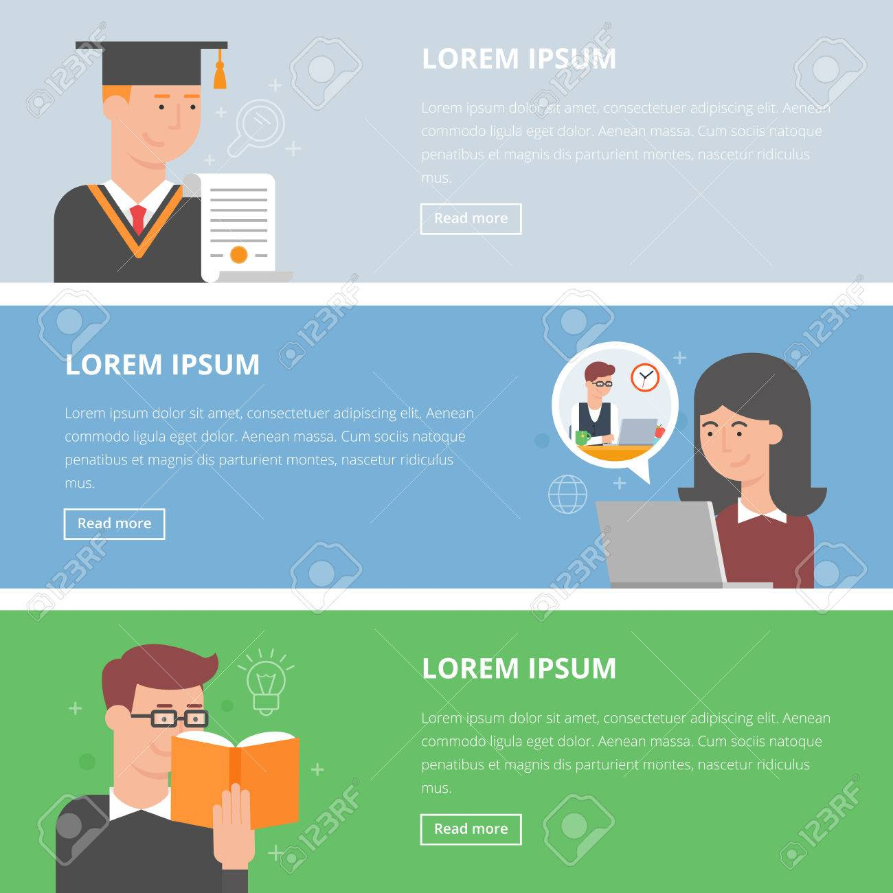 Set of flat style vector education banners. E-learning, graduation, reading books - 39919219