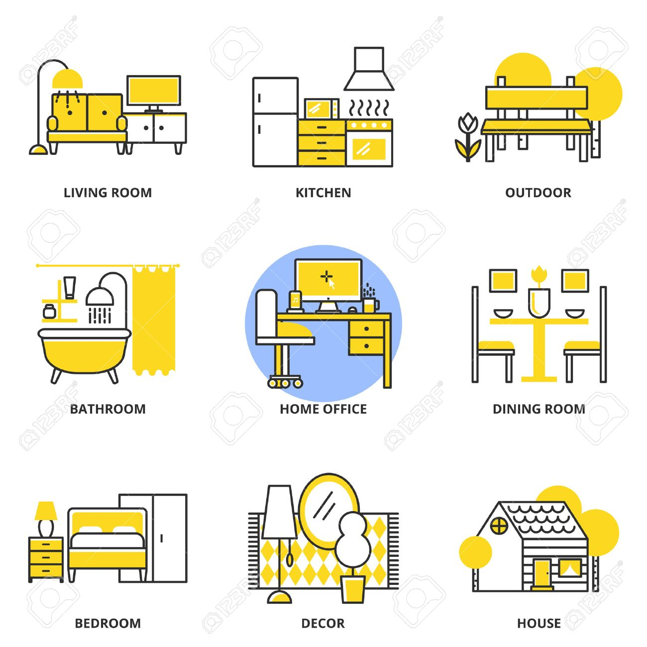 Furniture Vector Icons Set Living Room Kitchen Outdoor Bathroom Home Office