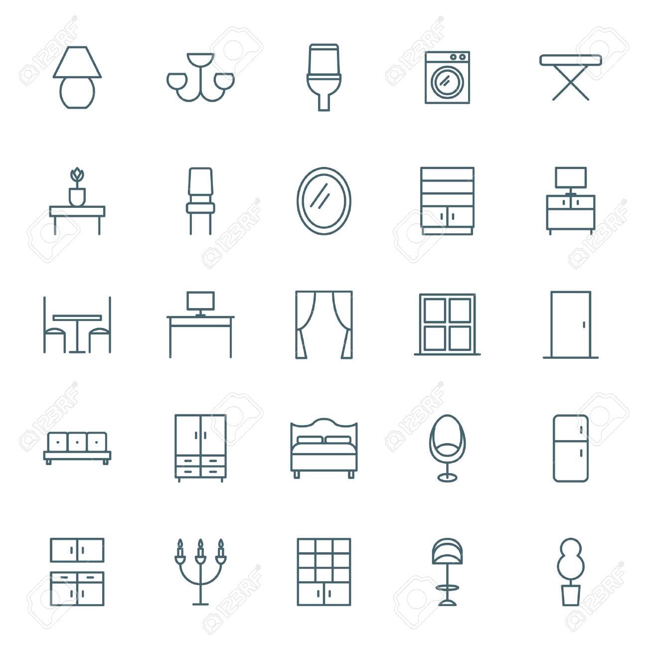 Interior icons set - 50058037