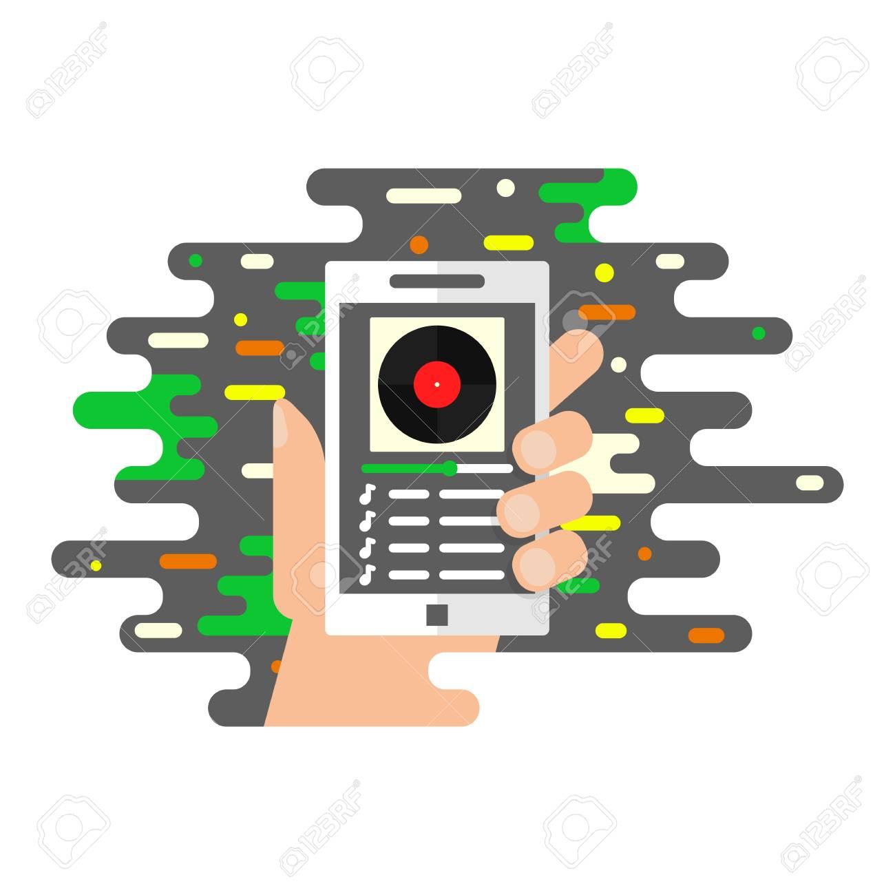 Music app, music player, online radio vector illustration of