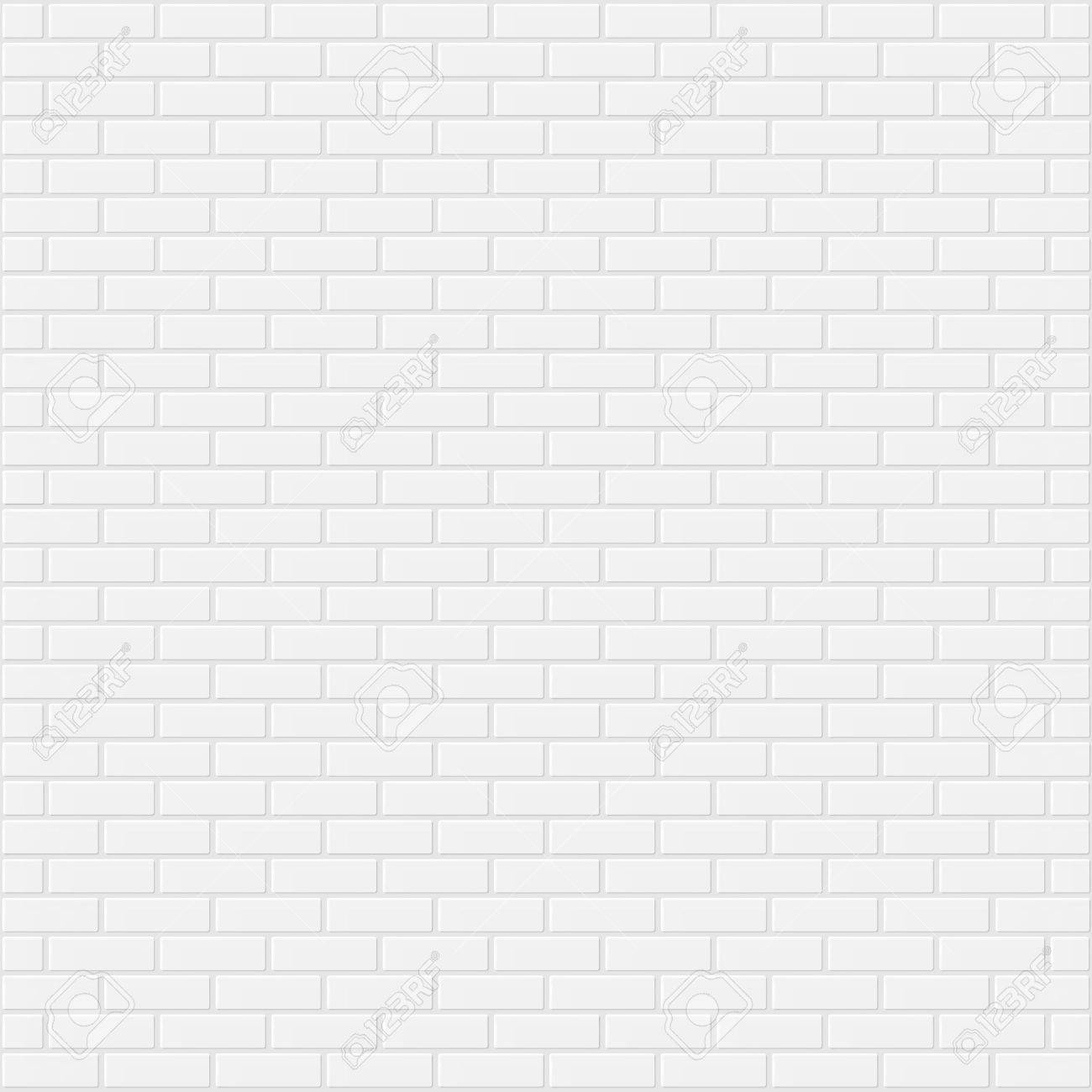 White brick wall realistic background vector illustration - 64947716