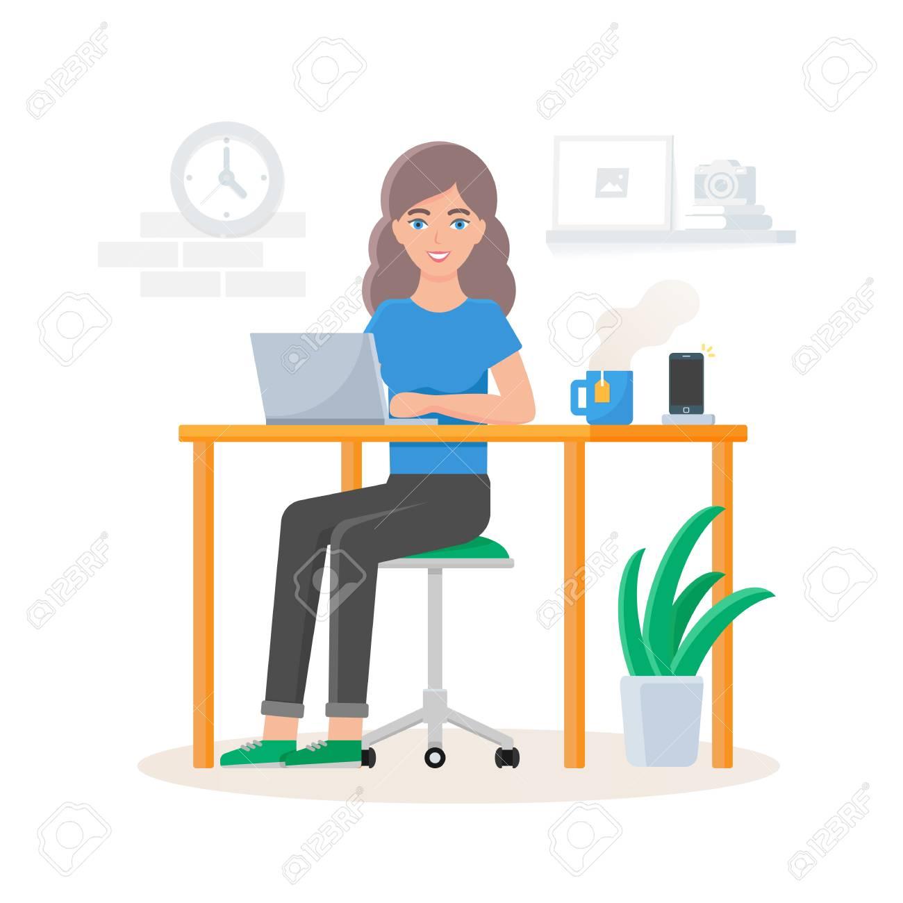 オフィスで働く女性のベクトル イラストのイラスト素材ベクタ Image