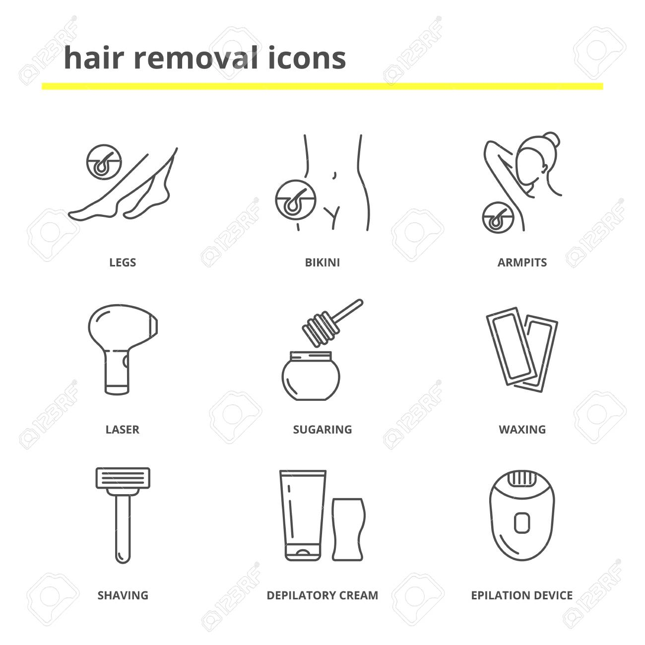 Hair Removal Icons: Legs, Bikini, Armpits, Laser, Sugaring, Waxing,shaving,..  Royalty Free Cliparts, Vectors, And Stock Illustration. Image 90921749.123RF.com