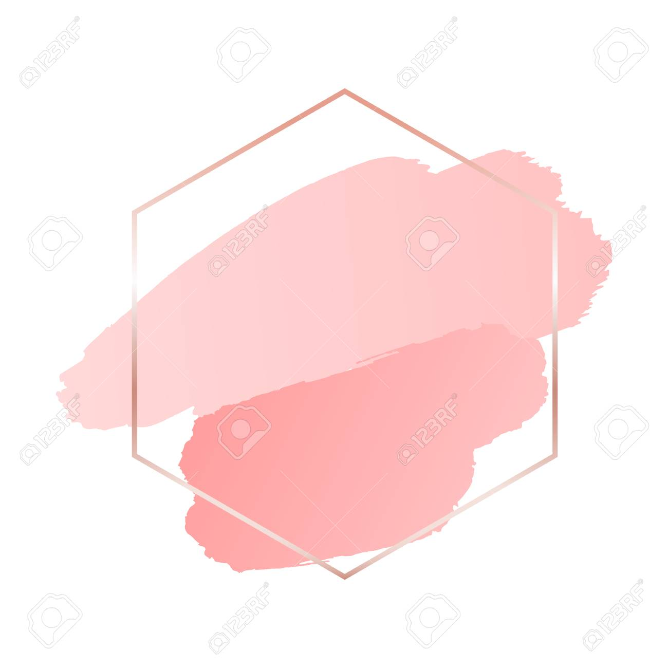 Abstract pink brush background with hexagon geometric frame rose gold color - 117104597