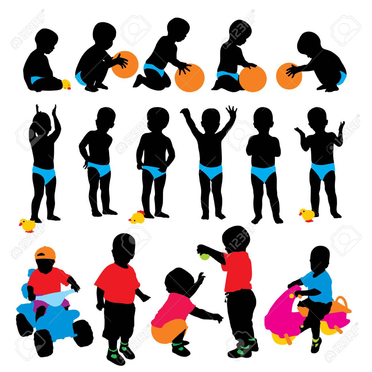 Vector child's silhouettes - 4648893