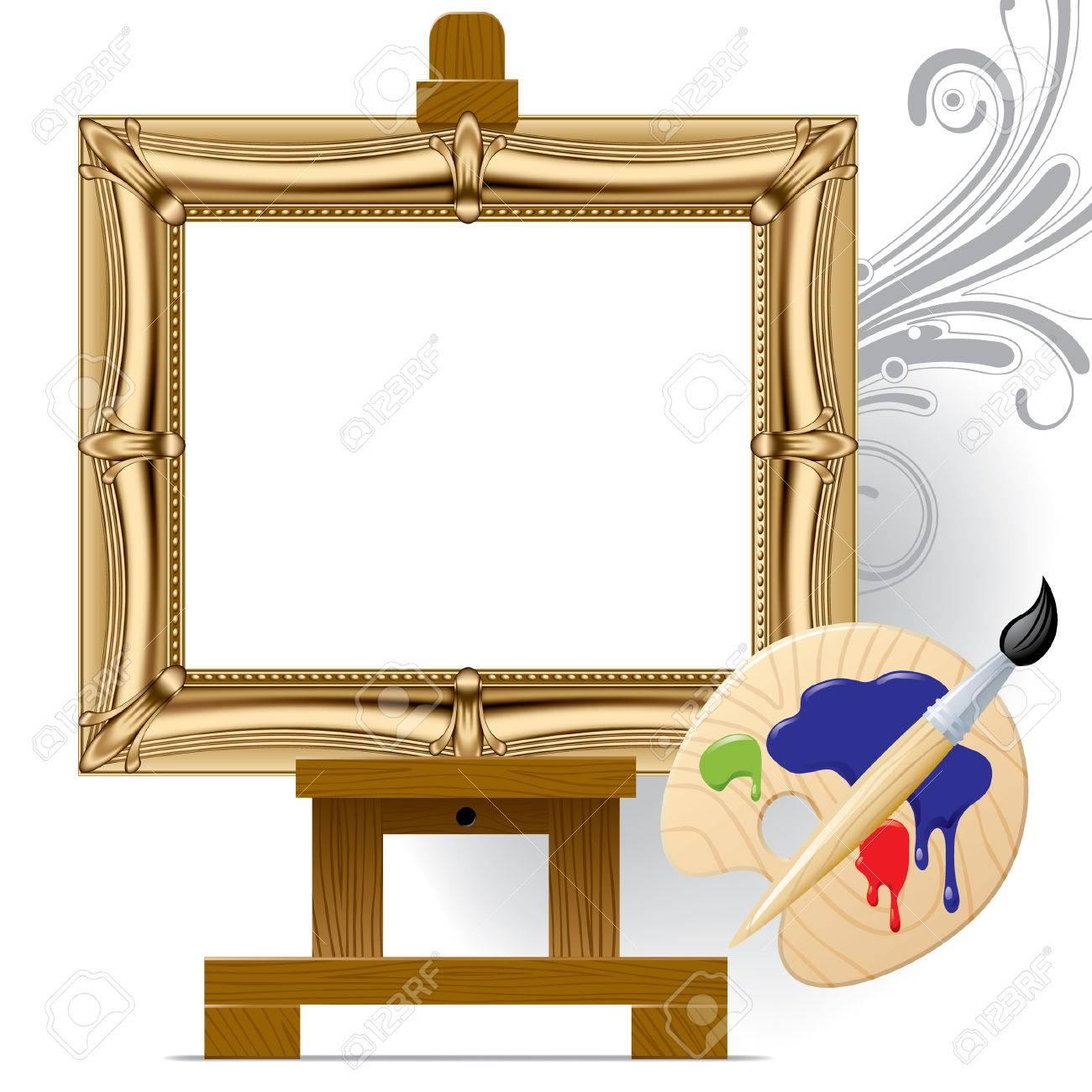 Vector gold frame on a easel Stock Vector - 4846846