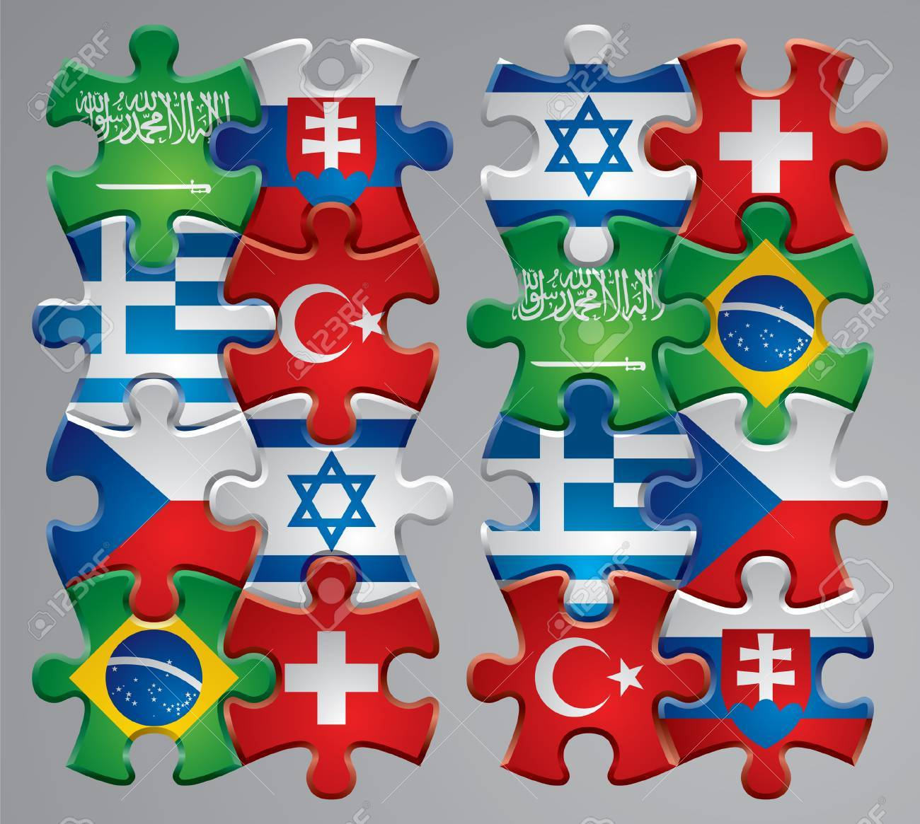 Vector set of puzzle flag icons 4 Stock Vector - 4972233