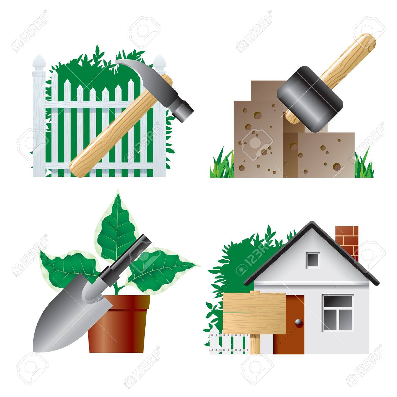 Vector landscaping icons 1 Stock Vector - 4972237