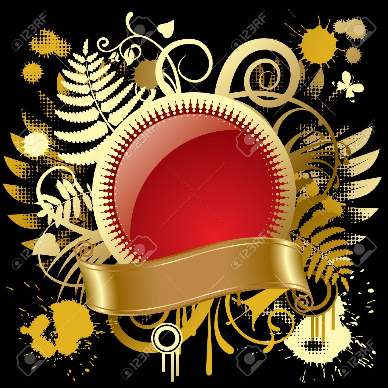 Vector round gold banner Stock Vector - 4972254