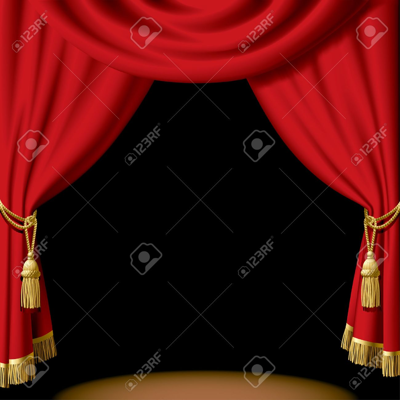 Black theatre curtain - Vector Red Curtain On Black Stock Vector 4972255