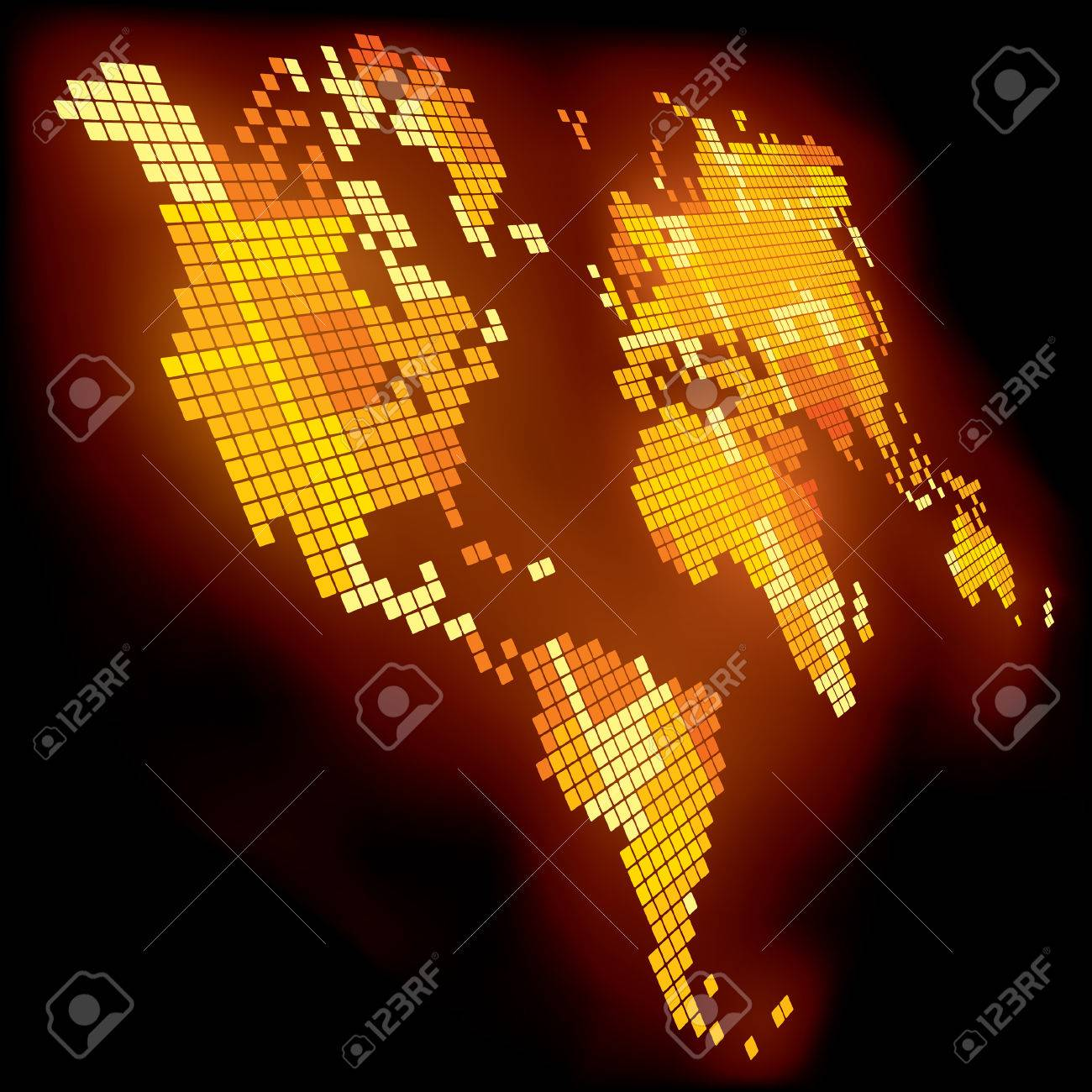 Vector shining pixel world map Stock Vector - 4990573