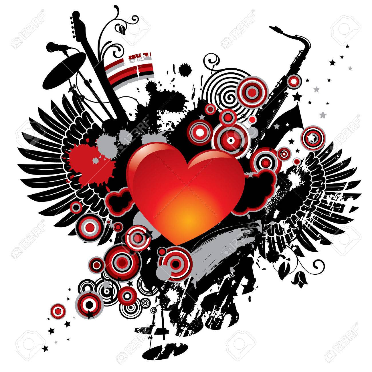 Vector illustration on a musical theme with a heart Stock Vector - 4990566