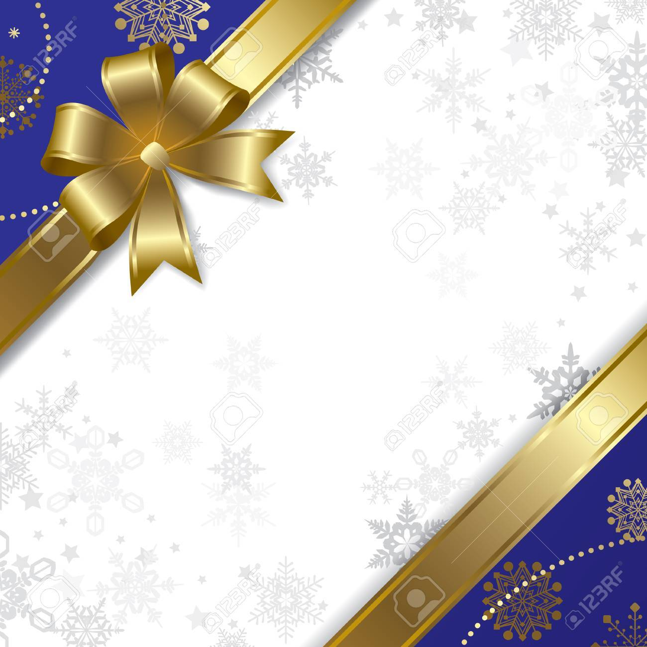 Vector Christmas & New-Year's greeting card with a gold ribbon Stock Vector - 5061968