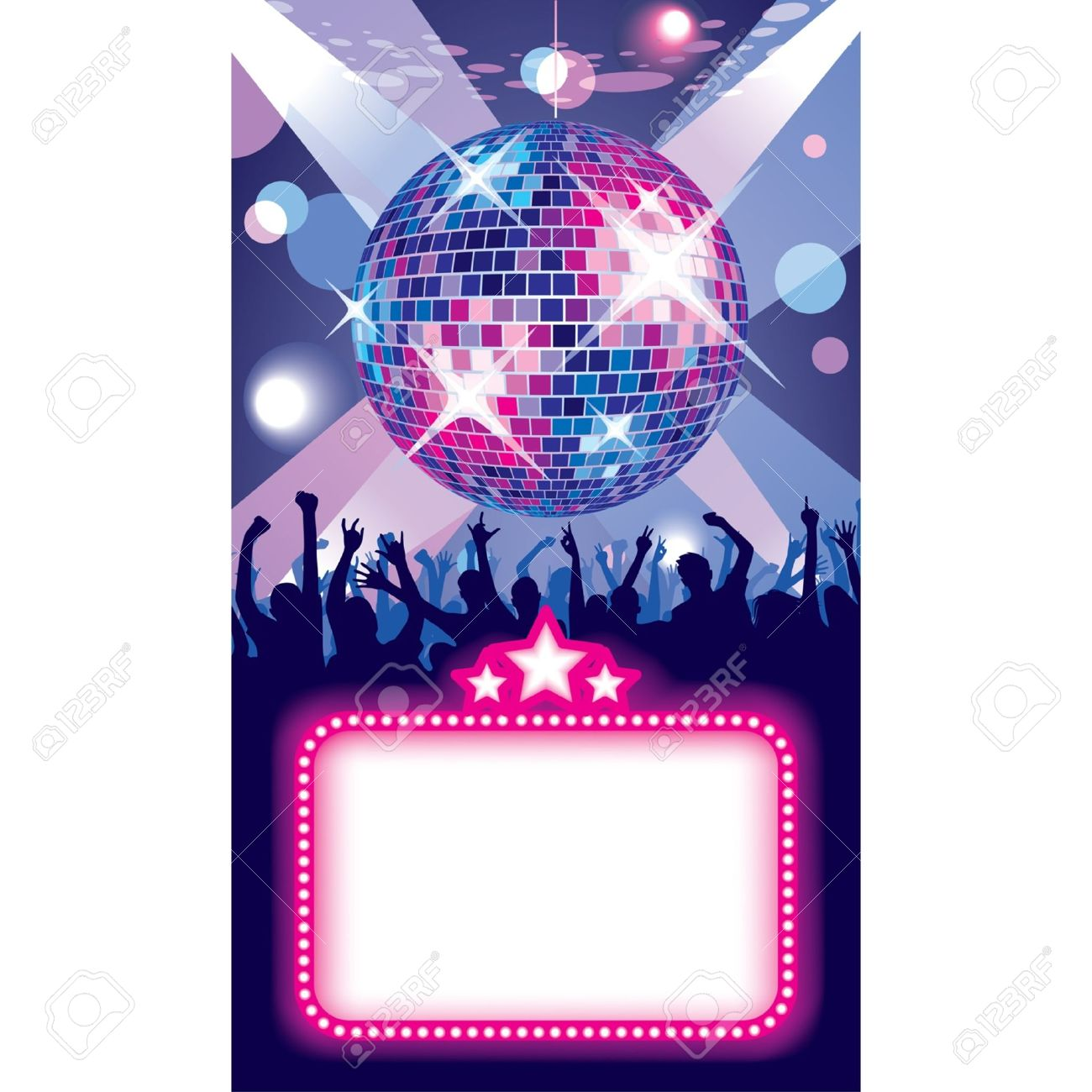 Vector image of disco banner with a party in the night club - 16415429