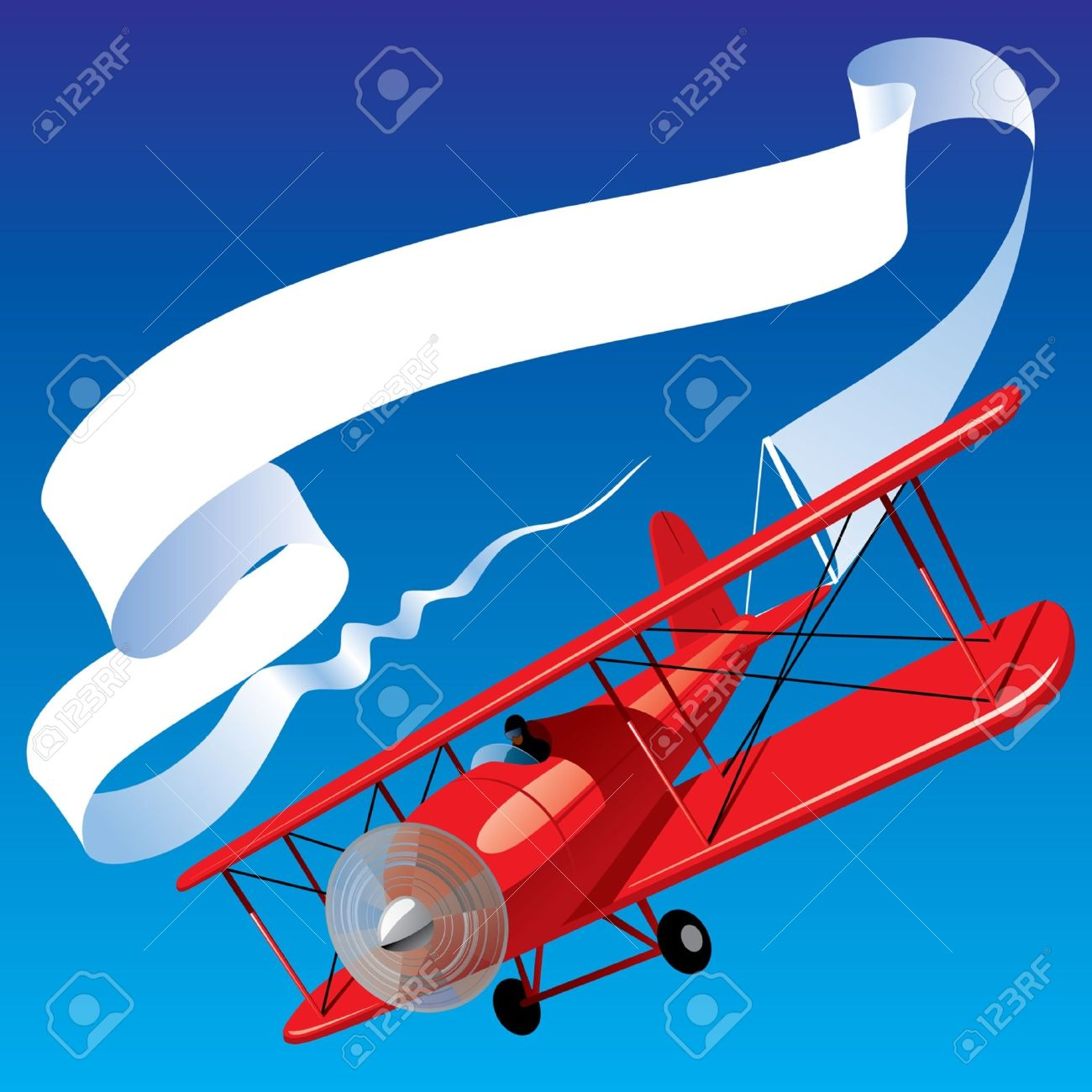 Vector Image Of Vintage Red Airplane With Blank Banner In The