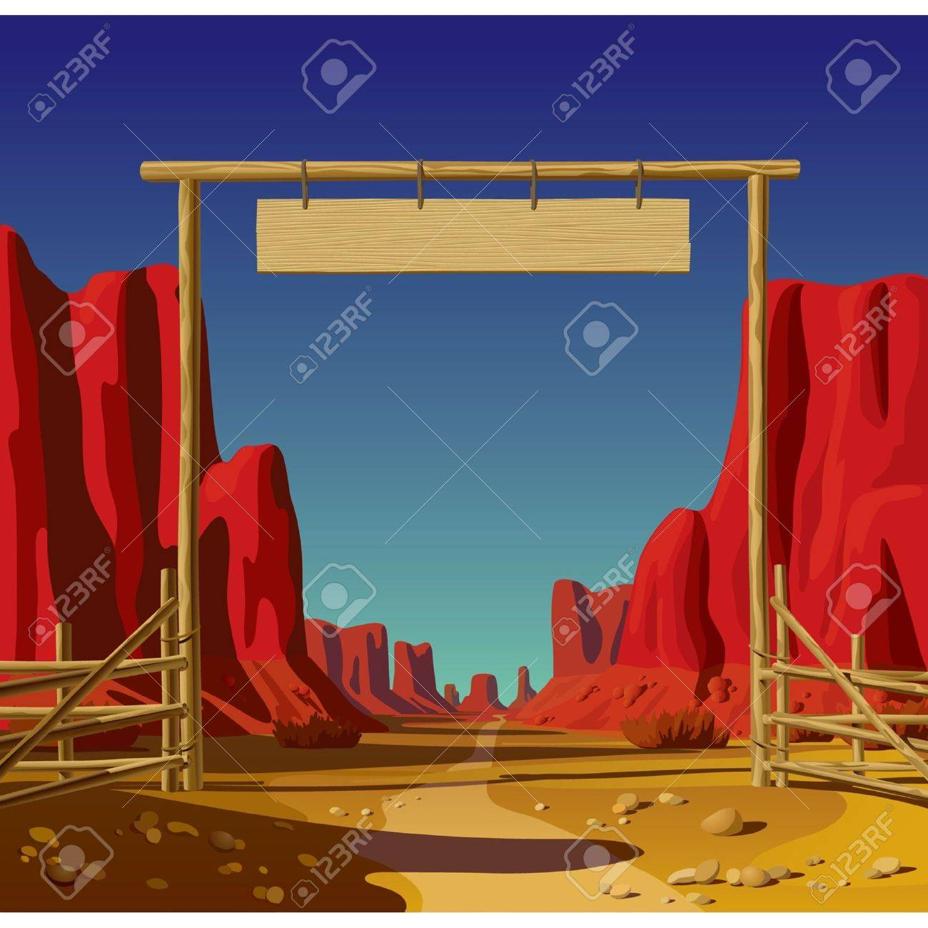 Vector illustration of a farm gate in the Wild West Stock Vector - 16415420