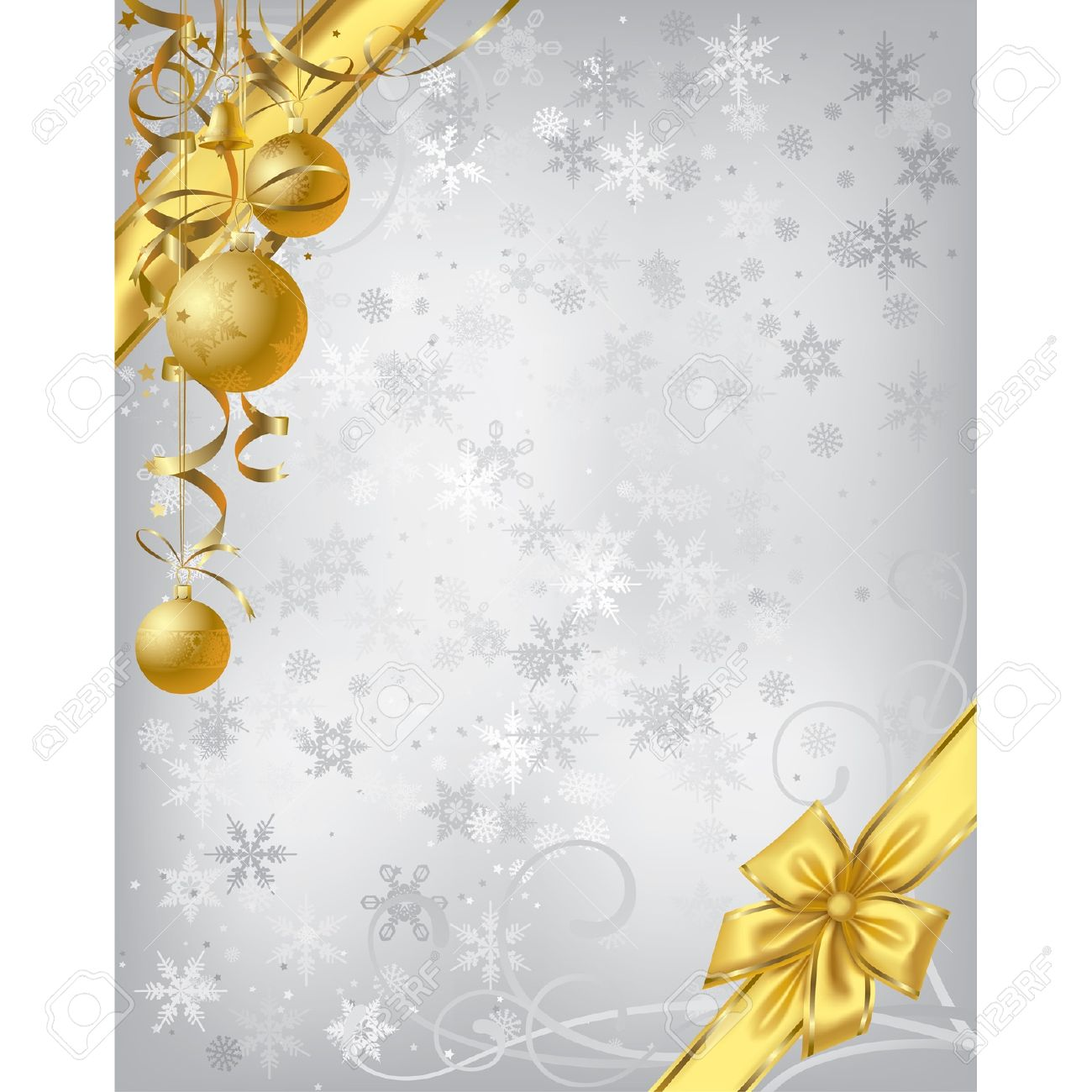 Vector Silver Christmas Background With Gold Decoration Royalty ...