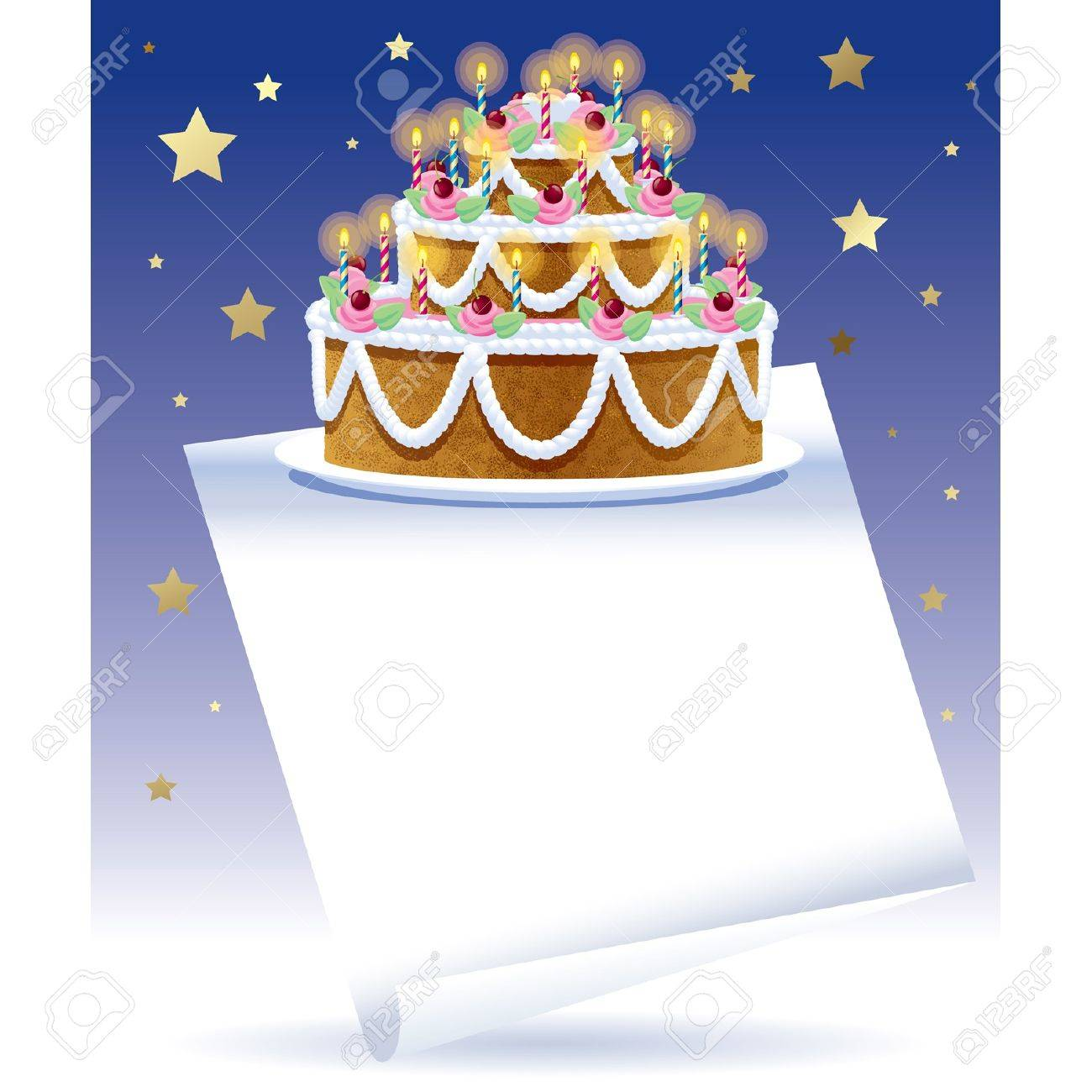 Vector Birthday Cake With White Banner And Gold Stars On The