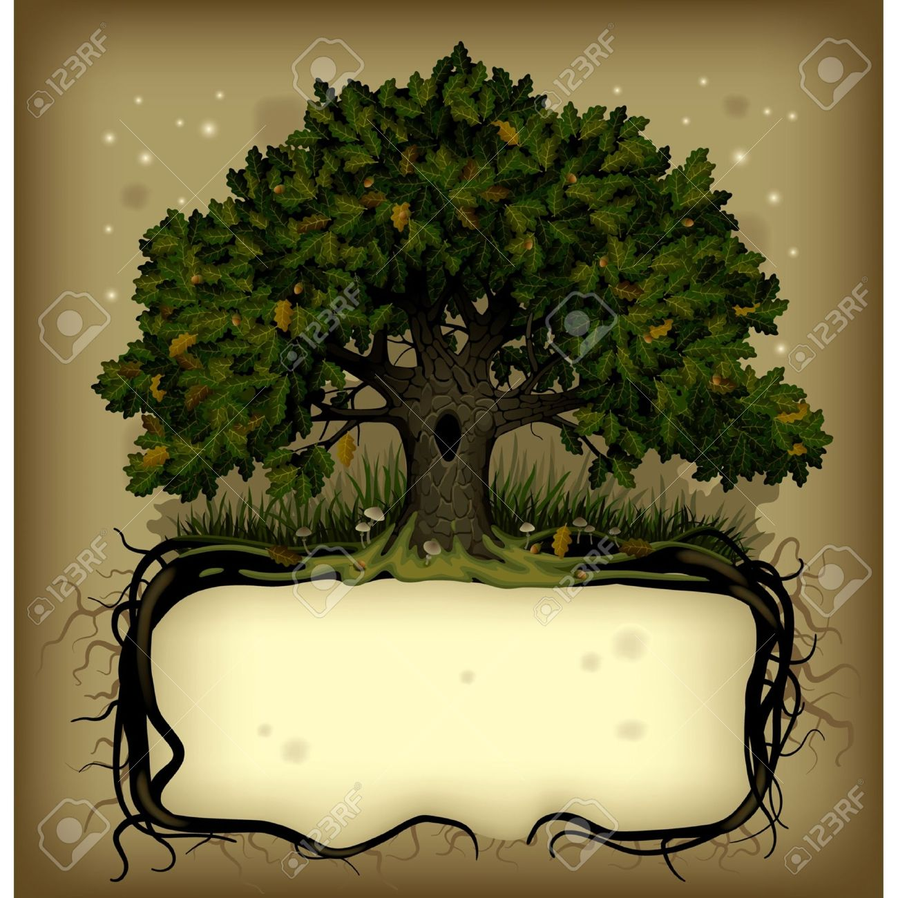 Vector old-fashioned banner with fairy-tale rooted oak tree Stock Vector - 16392548