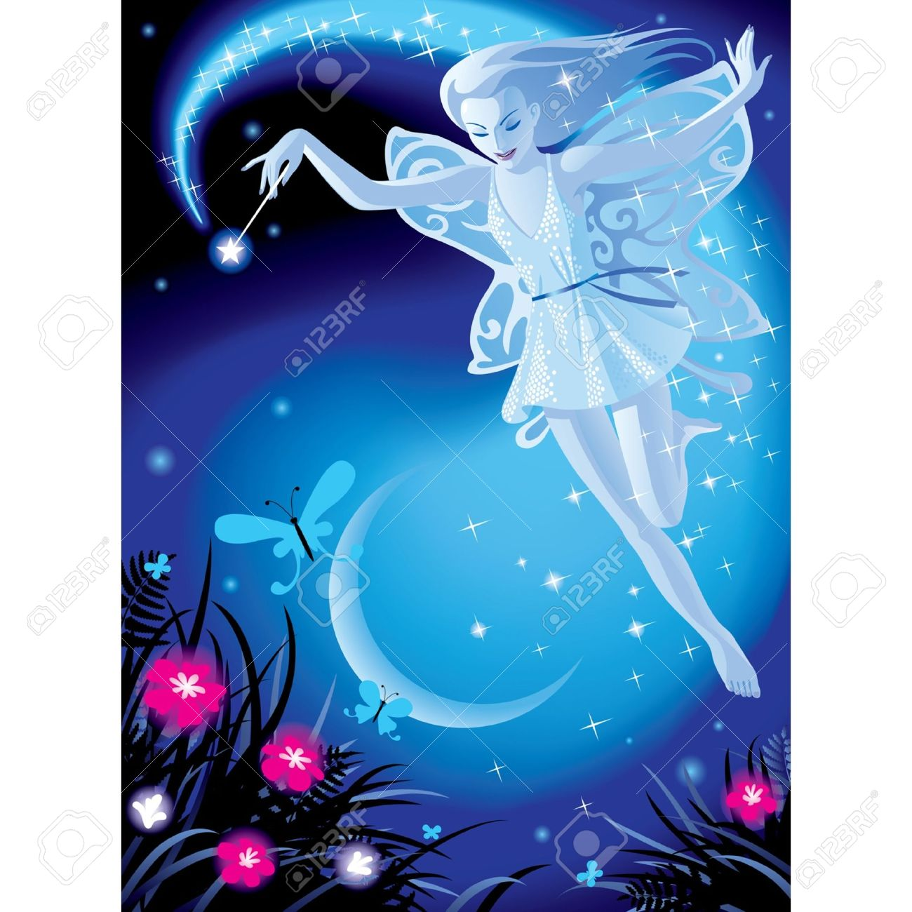 Vector image of luminous fairy girl on a blue night background with the moon and pink flowers Stock Vector - 16392516