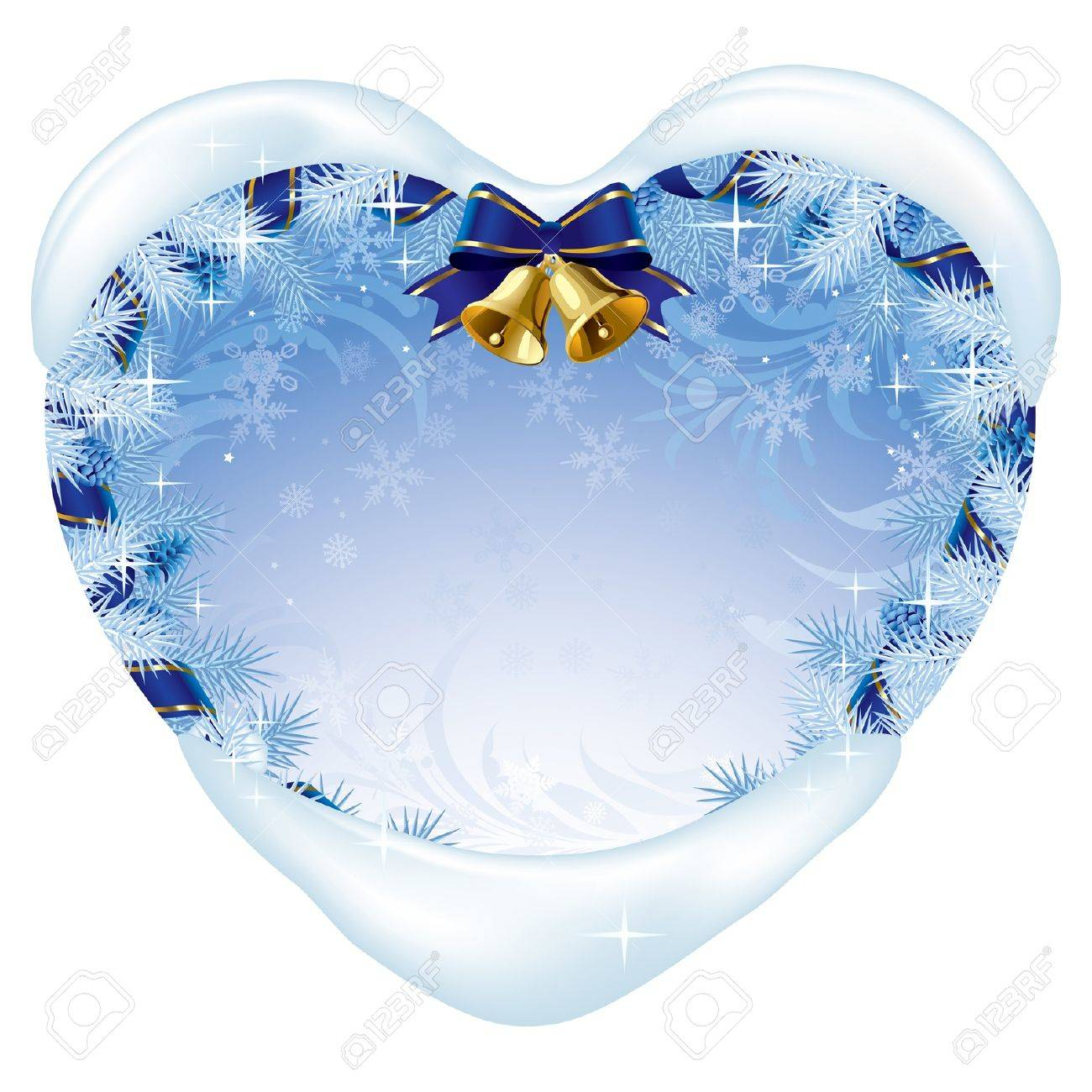 Vector blue heart-shaped xmas card with white fir twigs and cones, gold bell, blue ribbon and snow Stock Vector - 16392547