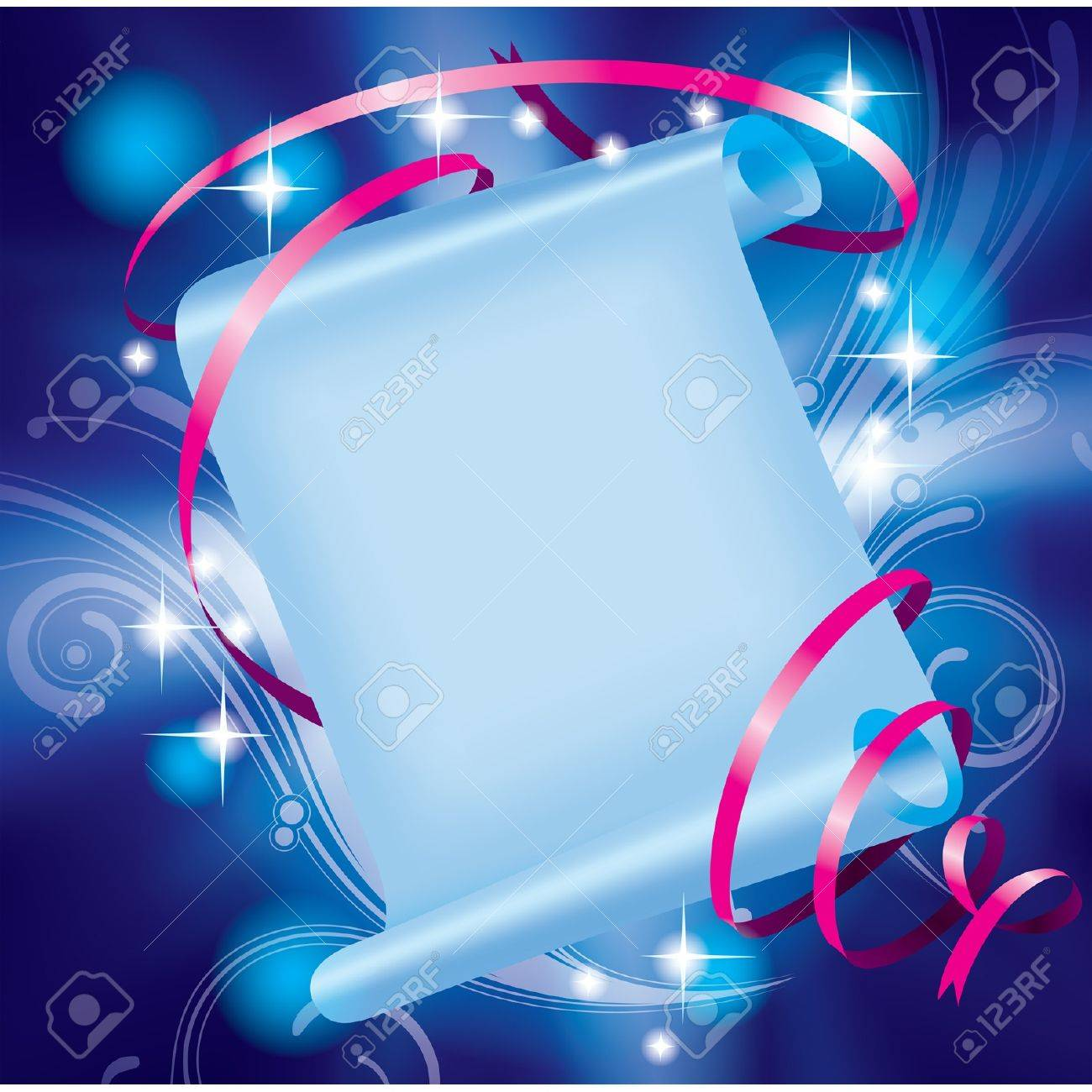 Vector image of fairy paper banner with pink ribbon on a luminous blue starry background with decorative elements Stock Vector - 16415636