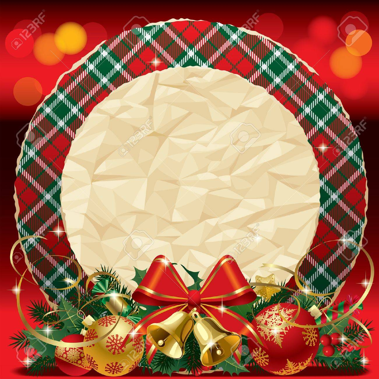 Vector round Xmas card with the tartan pattern, red ribbon, gold bells and crumpled paper on the red shining background Stock Vector - 16415668