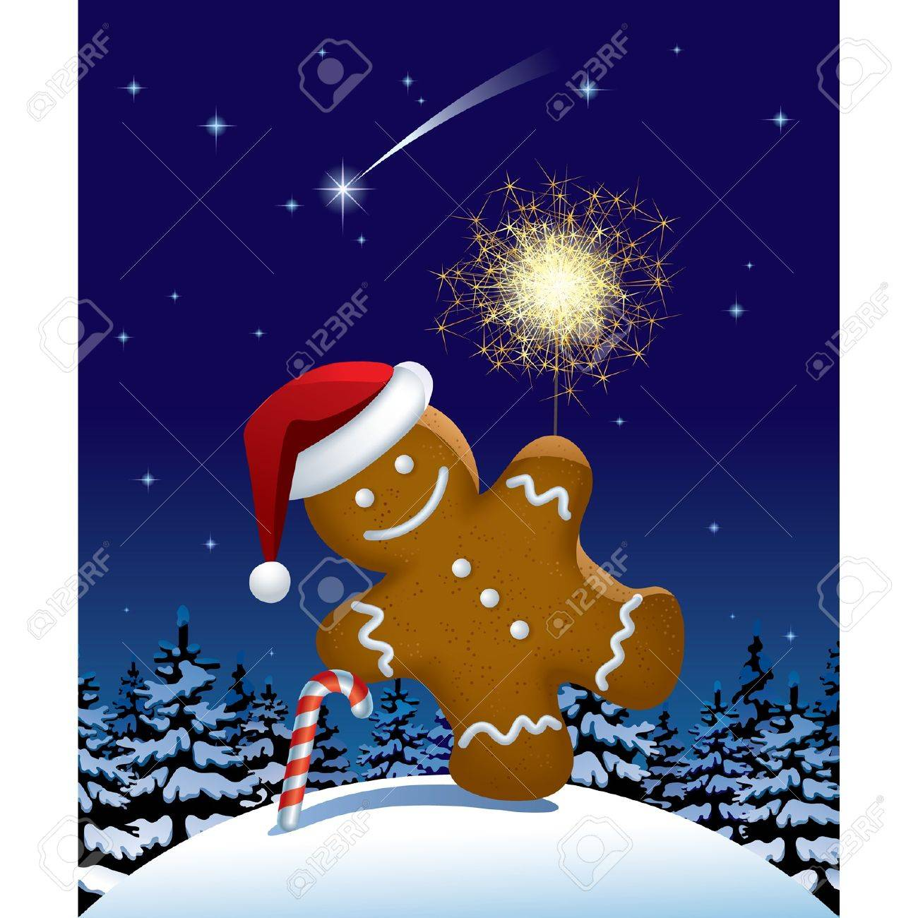 Vector illustration of gingerbread man wih a sparkler in winter fir forest in the night Stock Vector - 20237489