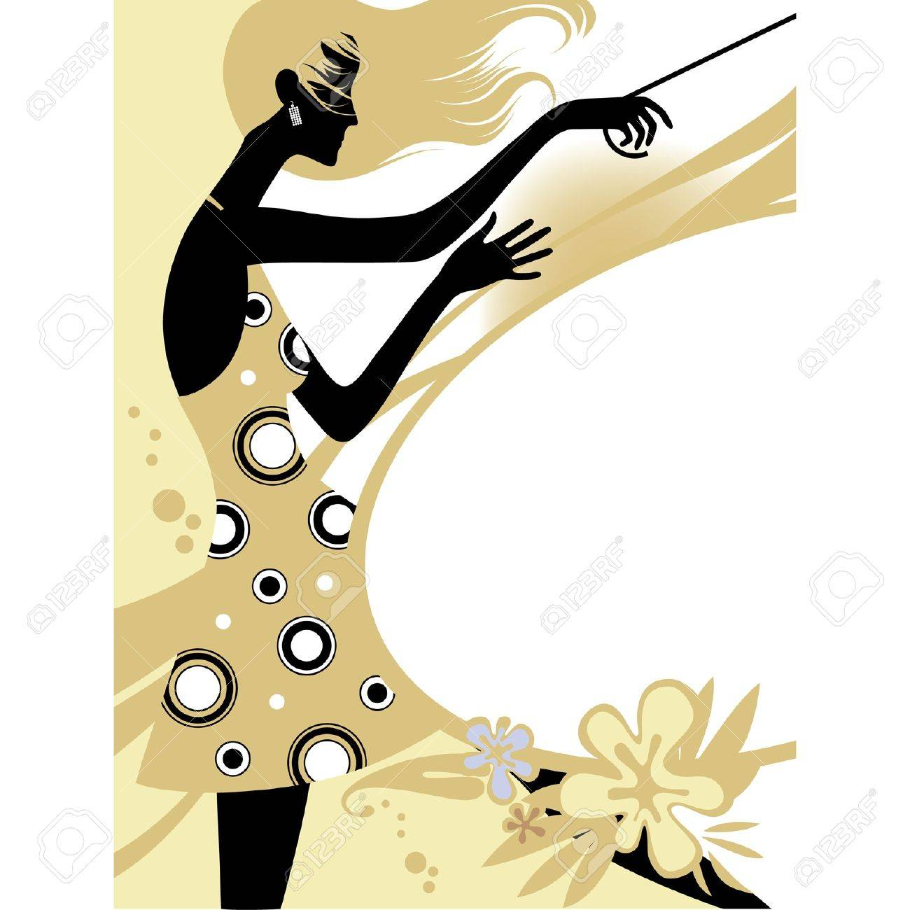 Vector Fashion Page With Black Silhouette Of The Girl In Beige – Fashion Design Posters