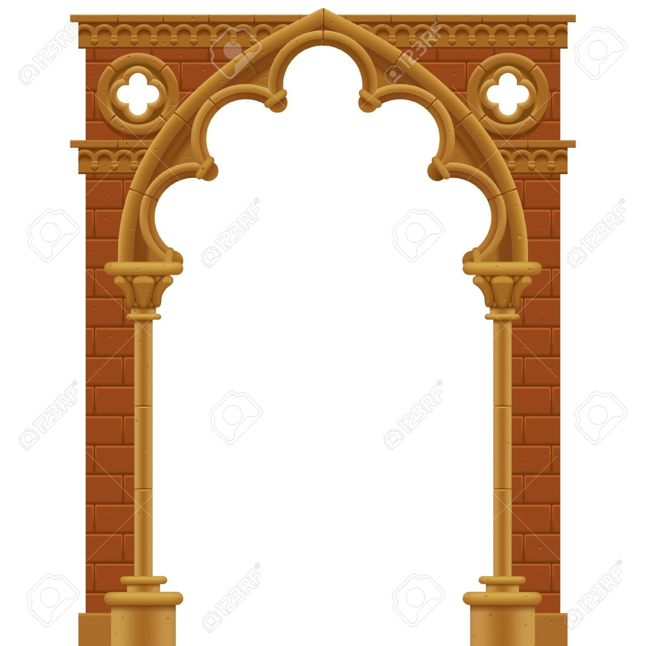 Frame In Form Of The Stone Decorated Gothic Arch Royalty Free ...