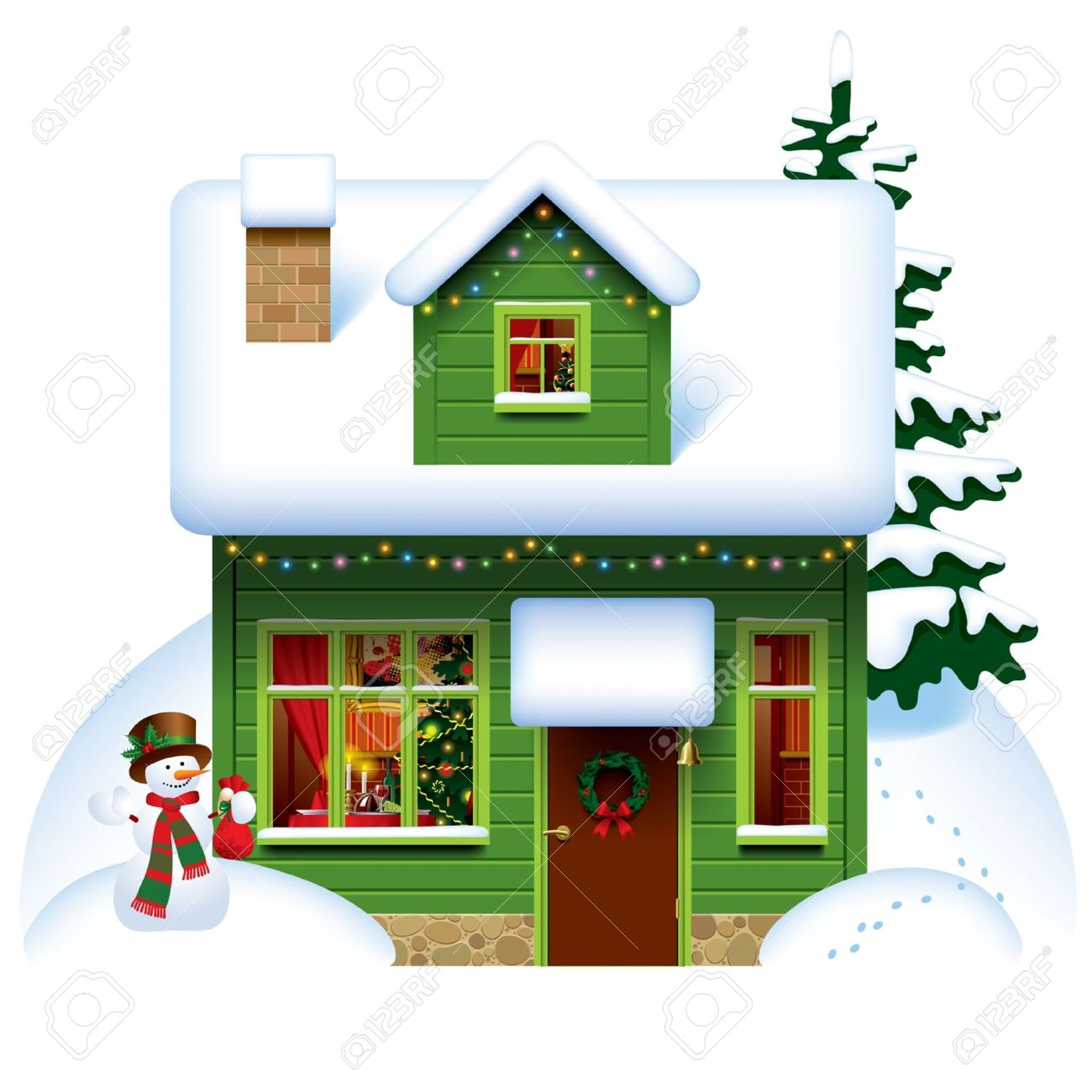Christmas house with snow art - Vector Image Of The Green Wooden Christmas House Covered With Snow With Snowman And Spruce Stock