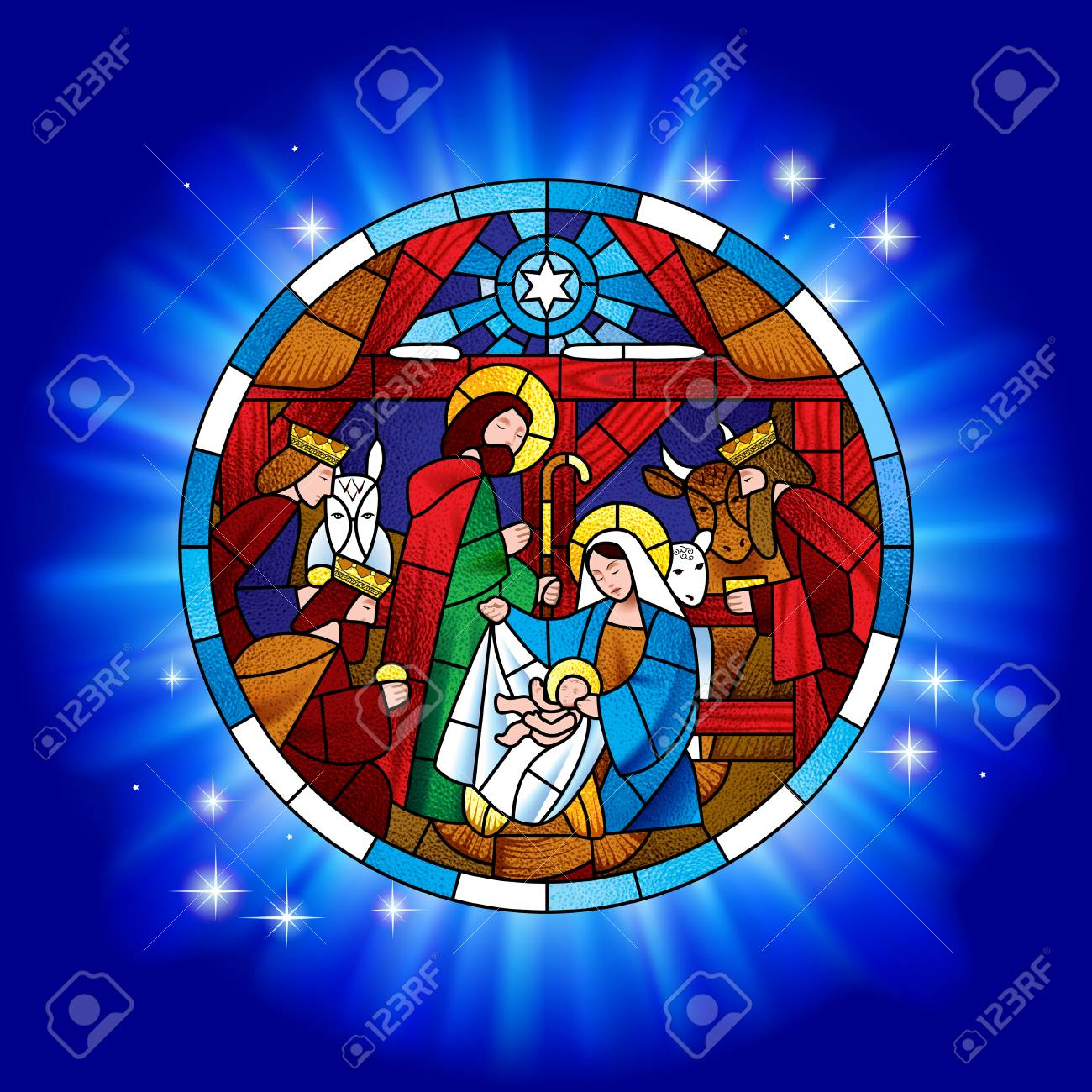Circle stained glass with the Christmas and Adoration of the Magi scene in blue shining. Vector illustration - 104064185