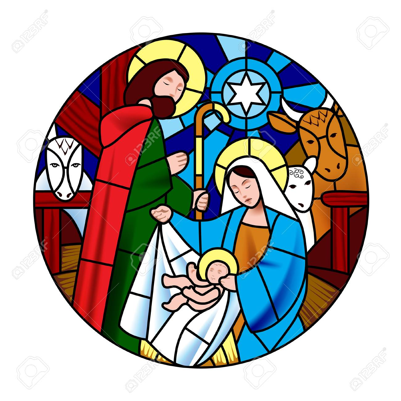 Circle shape with the birth of Jesus Christ scene in stained glass style. Christmas symbol and icon. Vector illustration - 104237124