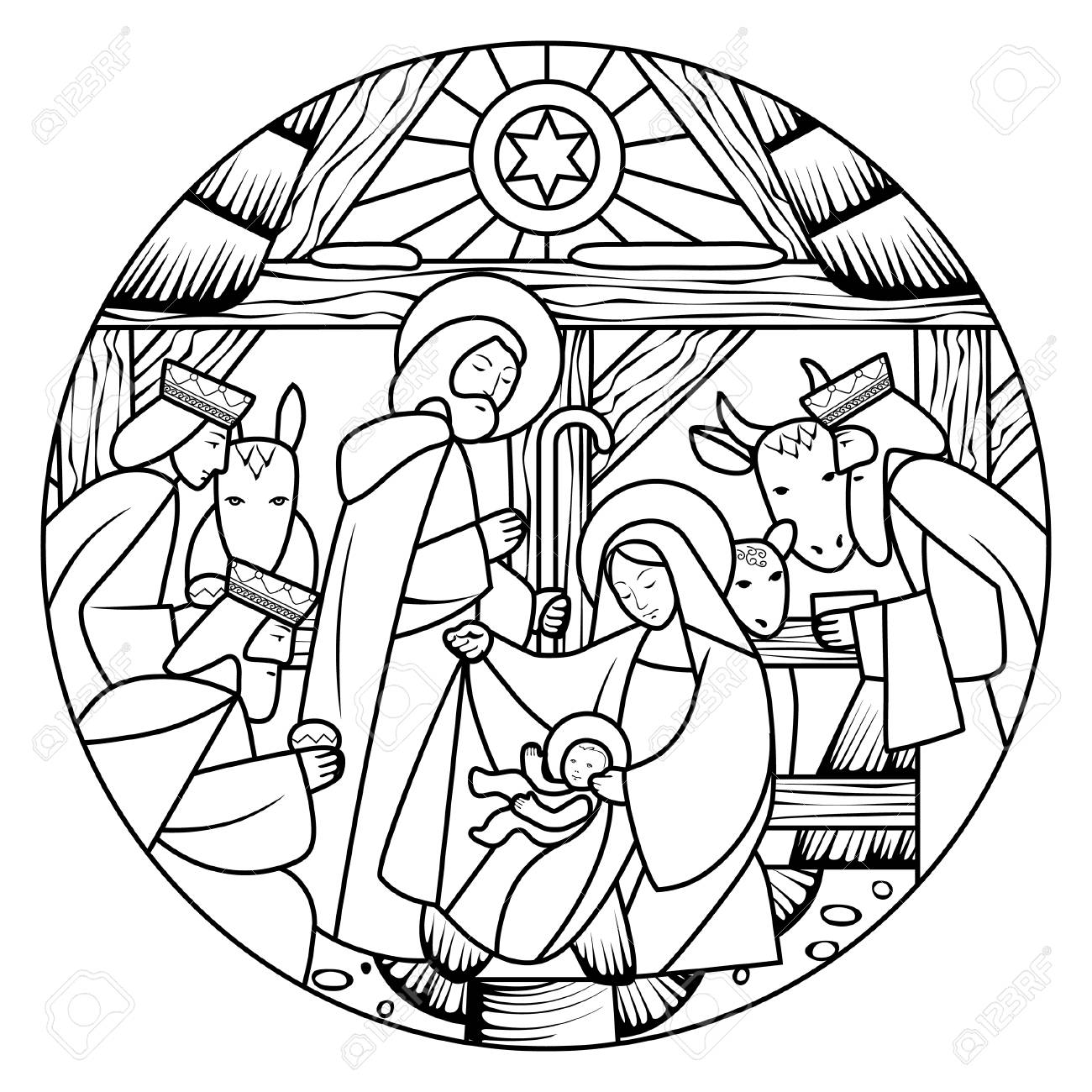 Birth of Jesus Christ scene in circle shape. Linear drawing for coloring book. Vector illustration - 104237125