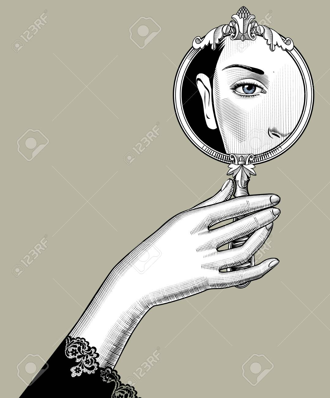 Female hand holding a round decorative mirror with an eye reflection. Vintage engraving stylized drawing. Vector illustration - 136830845