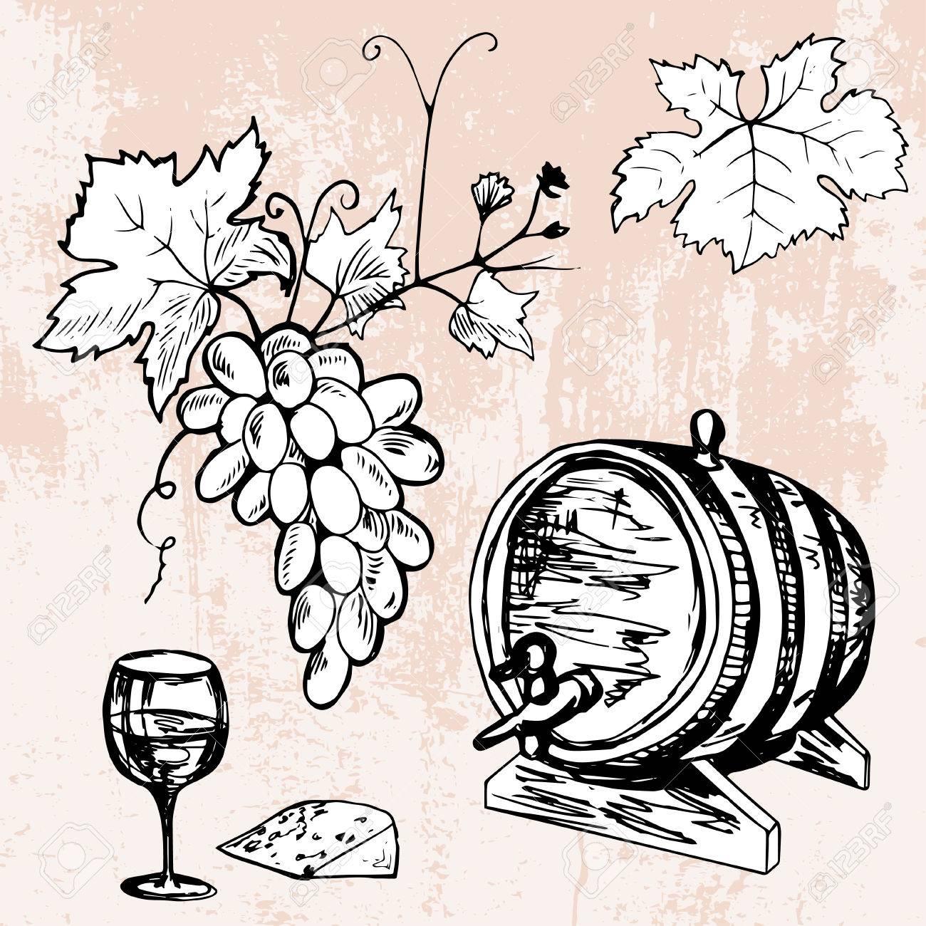 shand drawn set of barrel of wine grape wineglass and cheese Grape VATS Fibergalss shand drawn set of barrel of wine grape wineglass and cheese stock vector