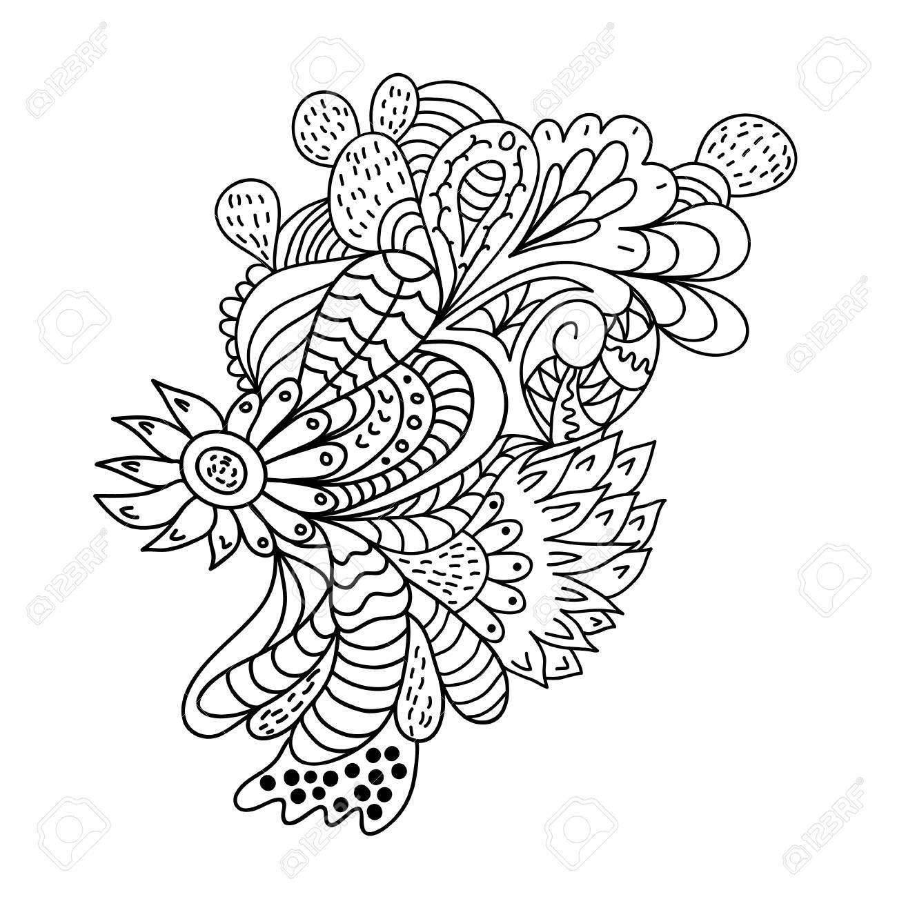 Dibujado A Mano Patron De Flores Zentangle Ilustraciones Vectoriales