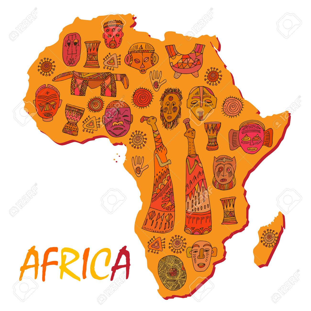 Ancient Africa Map.Africa Map With Different Ancient Symbols And Signs