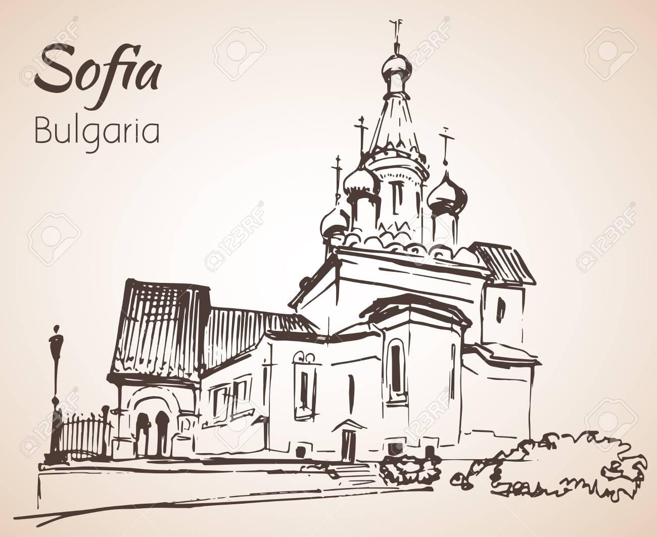 Russian Church, Sofia City Panorama, Bulgaria. Sketch. Isolated ...